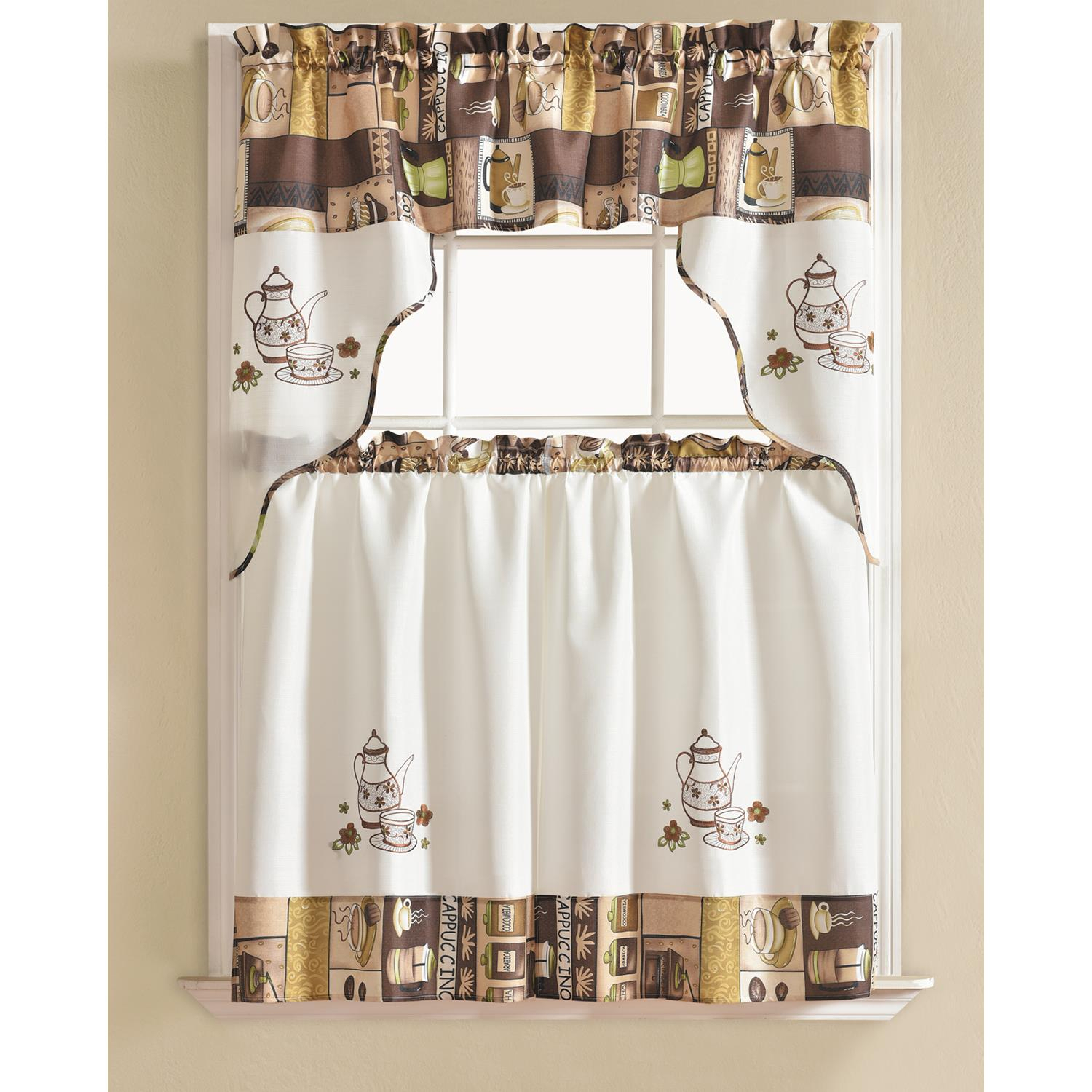 Popular Photo of Coffee Embroidered Kitchen Curtain Tier Sets