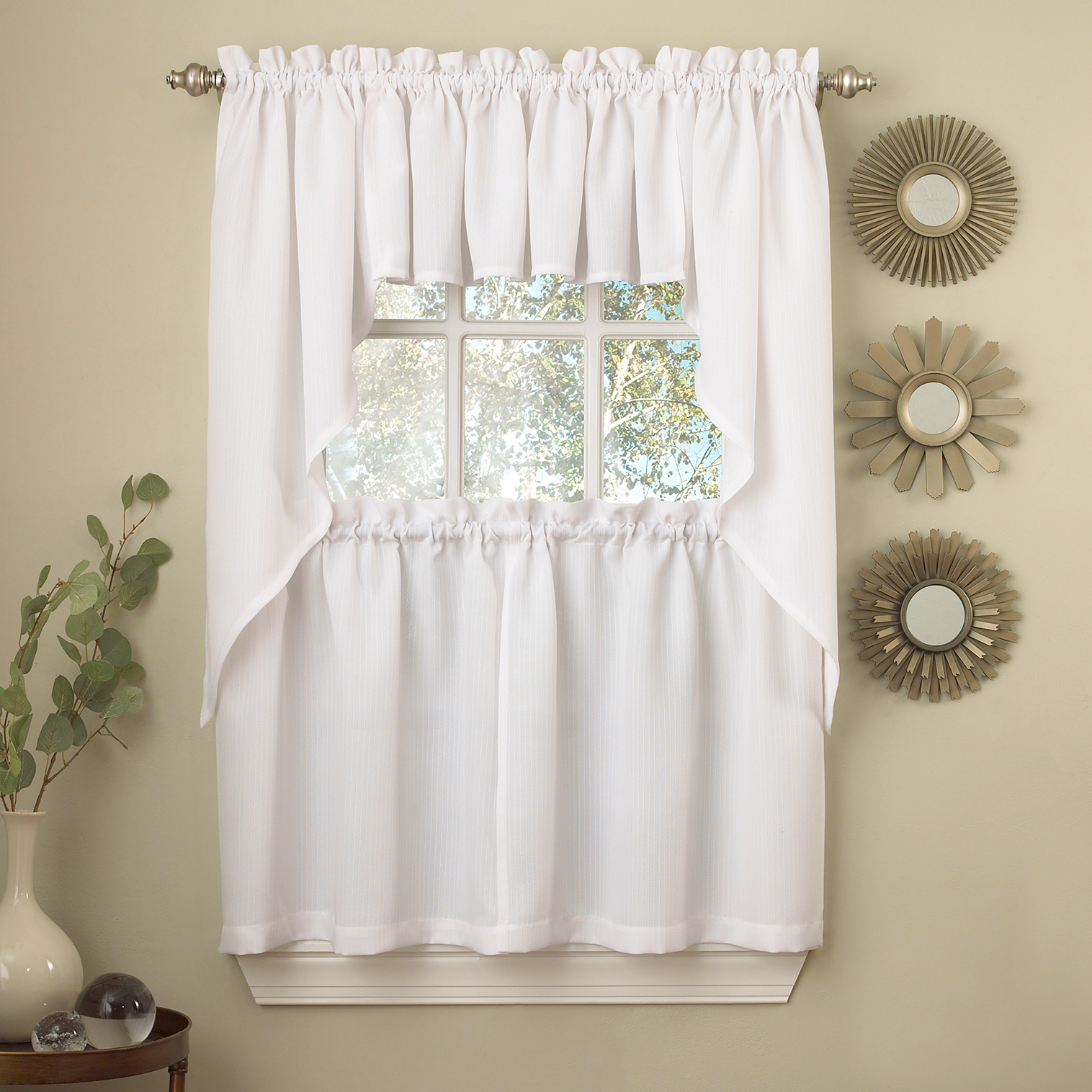 Details About White Solid Opaque Ribcord Kitchen Curtains – Choice Of Tiers Valance Or Swag With Regard To Cotton Blend Ivy Floral Tier Curtain And Swag Sets (View 14 of 20)