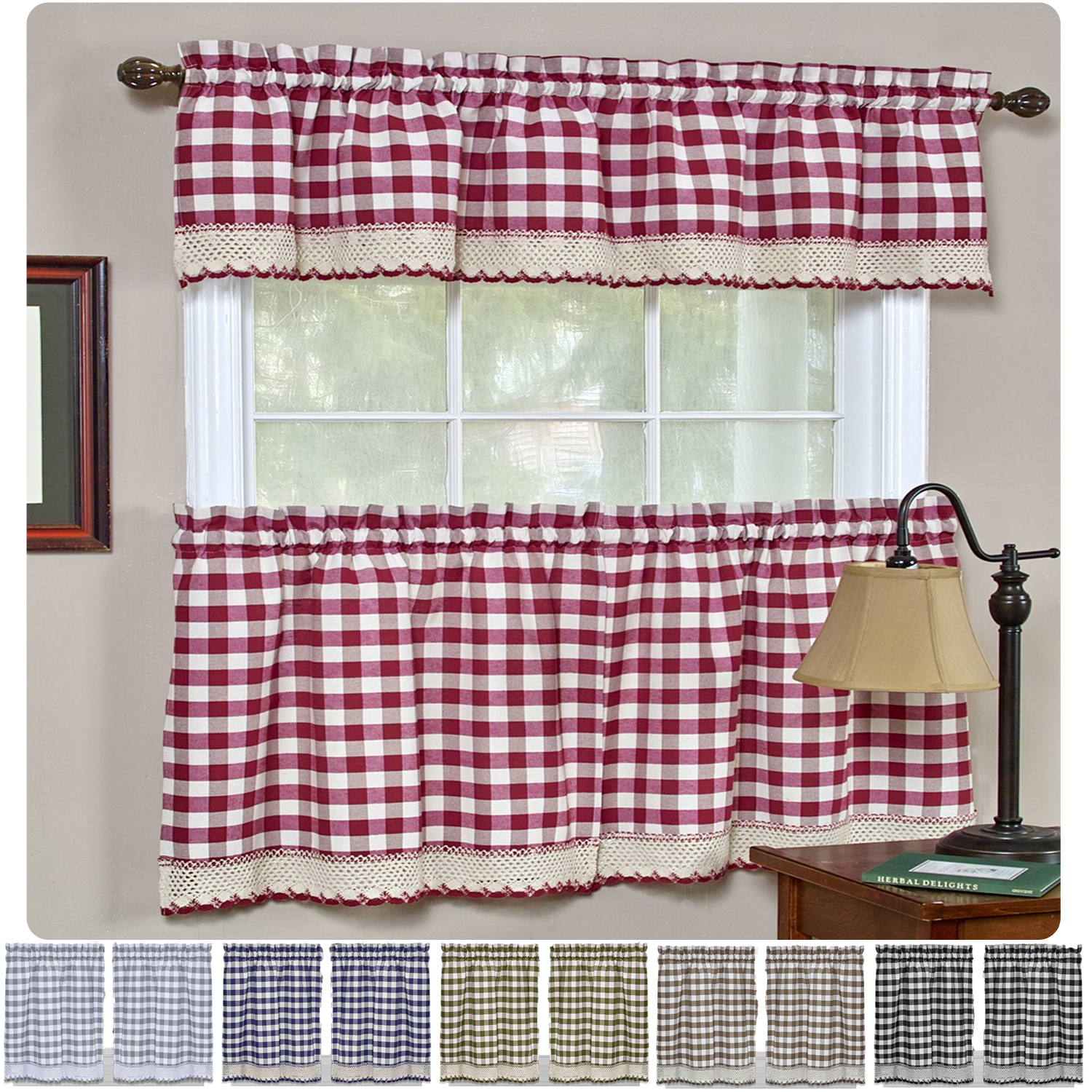 Details About Window Curtain Tier Pair & Valance 3pc Set Checked Plaid Gingham Kitchen Panel With Regard To Window Curtain Tier And Valance Sets (View 19 of 20)