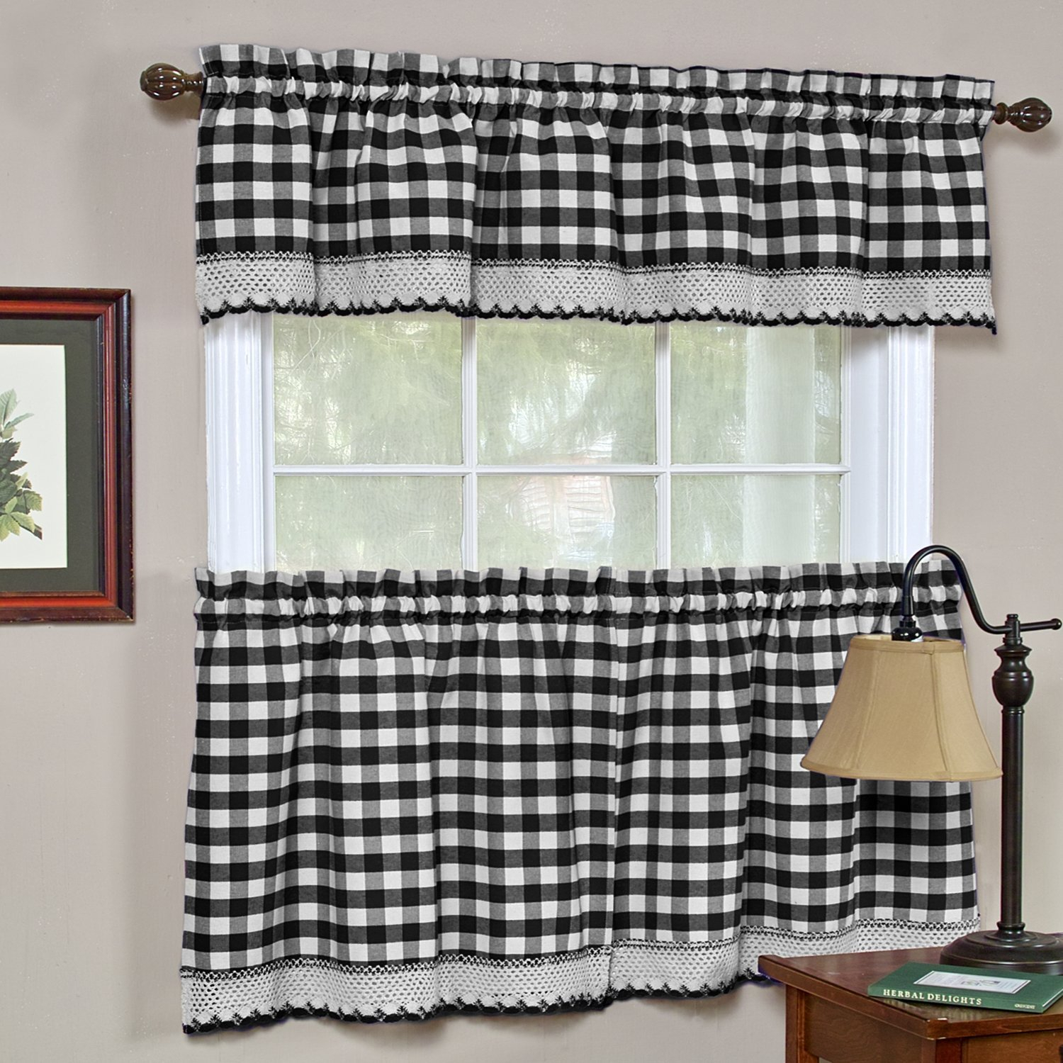 """Details About Window Curtain Valance Drape Checked Plaid Gingham Kitchen (58"""" W X 14"""" L) Pertaining To Cotton Blend Classic Checkered Decorative Window Curtains (View 15 of 20)"""