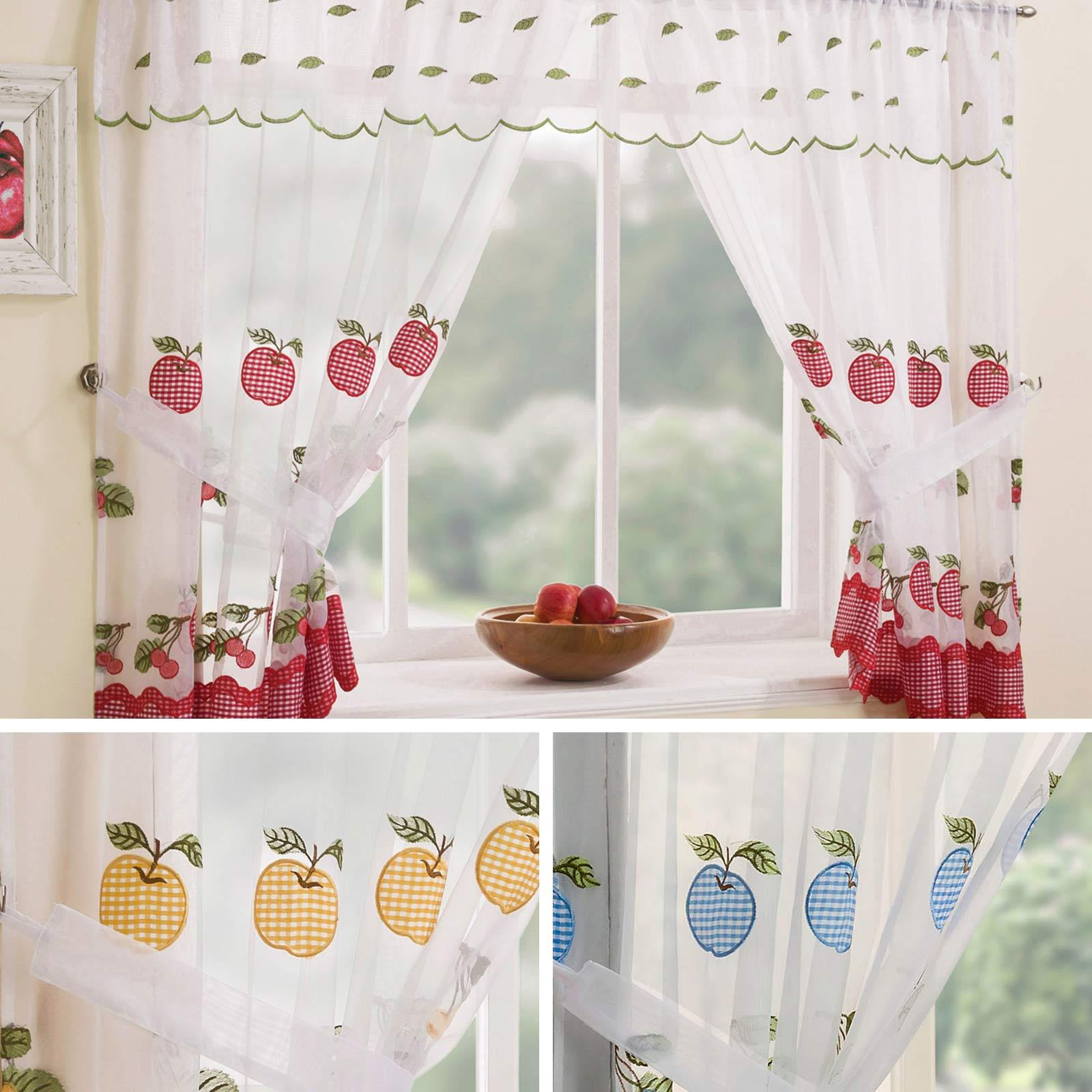 Details Zu Gingham Curtain Set Winchester Complete Window Ready Made Embroidered Curtains Throughout Bermuda Ruffle Kitchen Curtain Tier Sets (View 18 of 20)