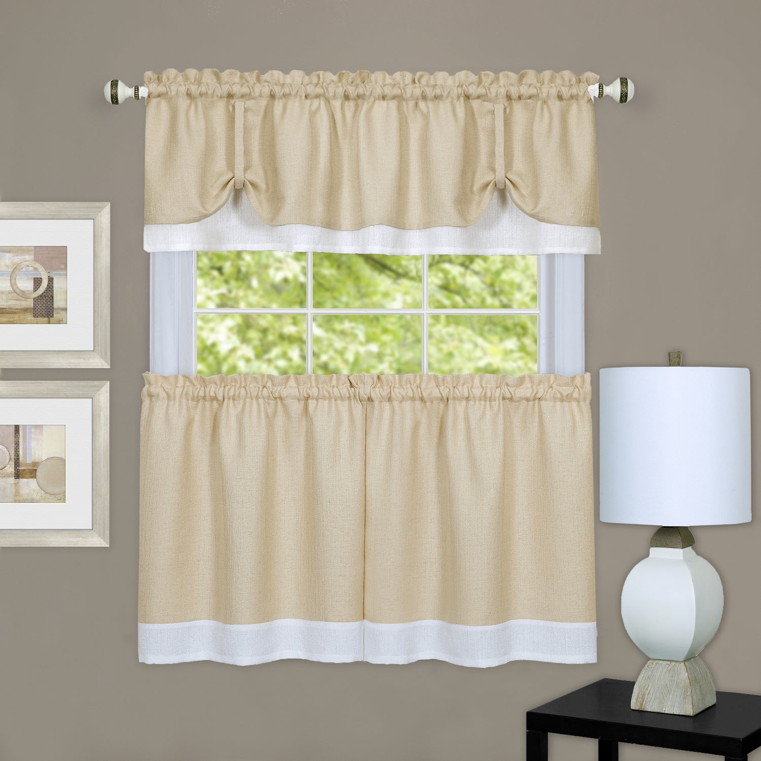 Double Layer Tie Up Tan/ White 3 Piece Tier And Valance Window Curtain Set Inside Spring Daisy Tiered Curtain 3 Piece Sets (View 8 of 20)