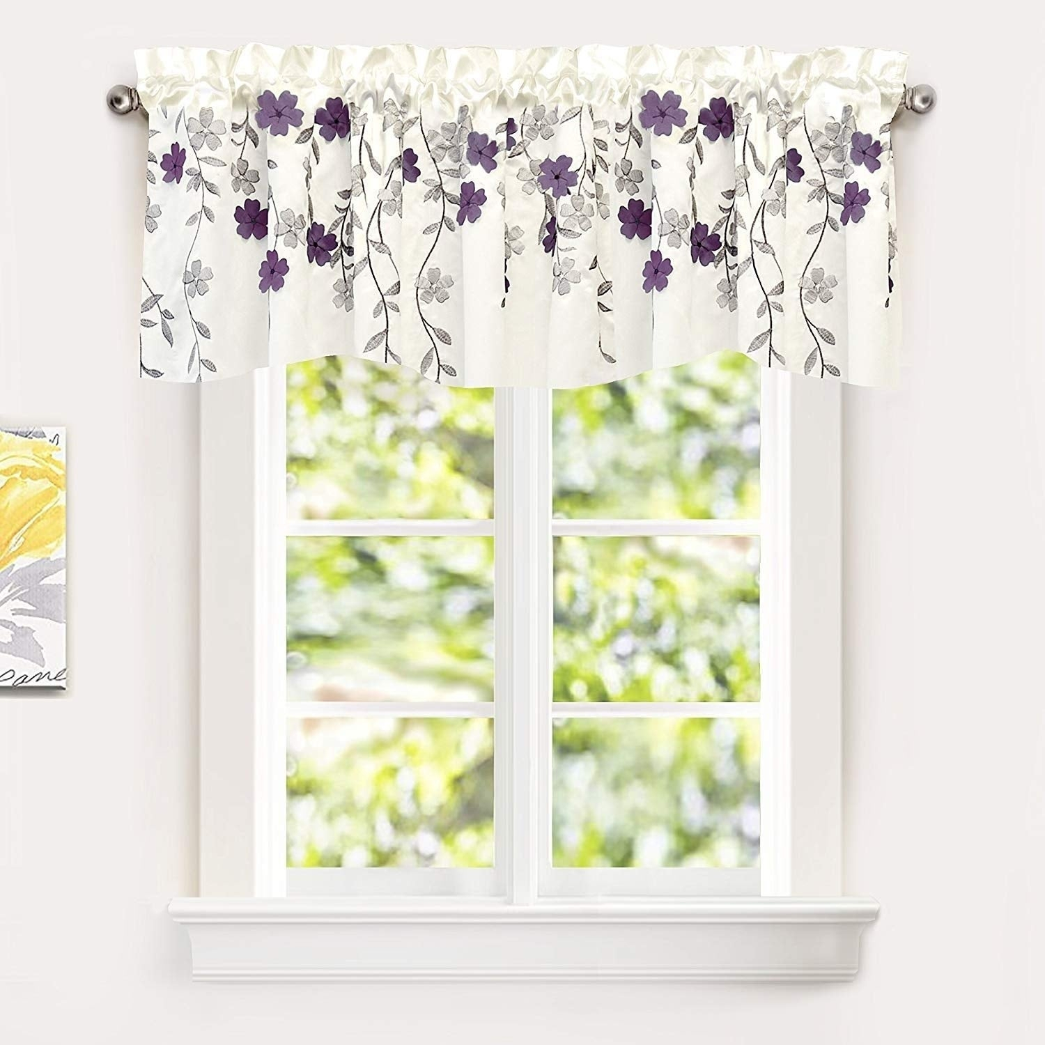 Driftaway Isabella Faux Silk Embroidered Crafted Flower Kitchen Swag Valance Regarding Floral Embroidered Faux Silk Kitchen Tiers (View 5 of 20)