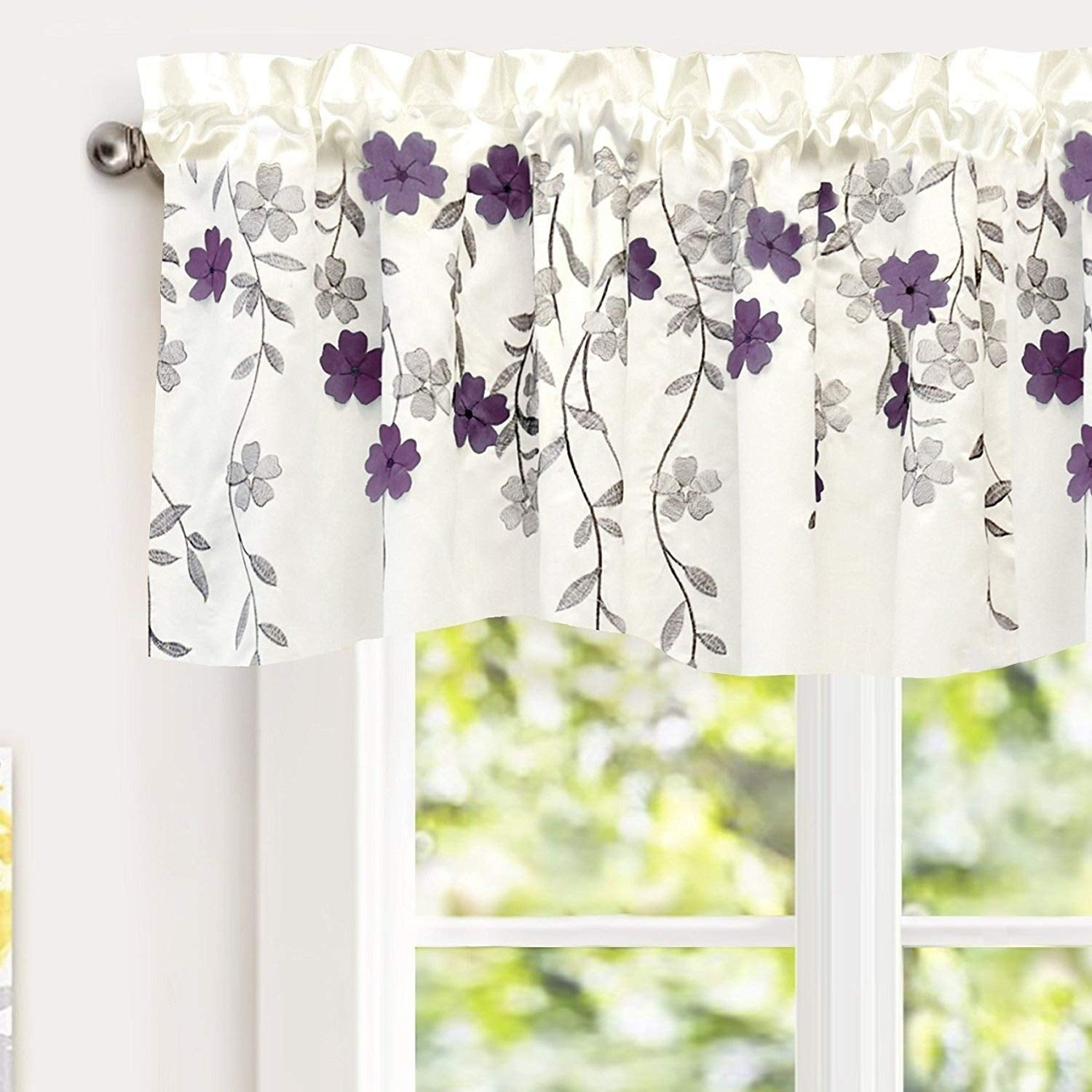 Driftaway Isabella Faux Silk Embroidered Crafted Flower Kitchen Swag Valance With Regard To Floral Embroidered Faux Silk Kitchen Tiers (View 8 of 20)