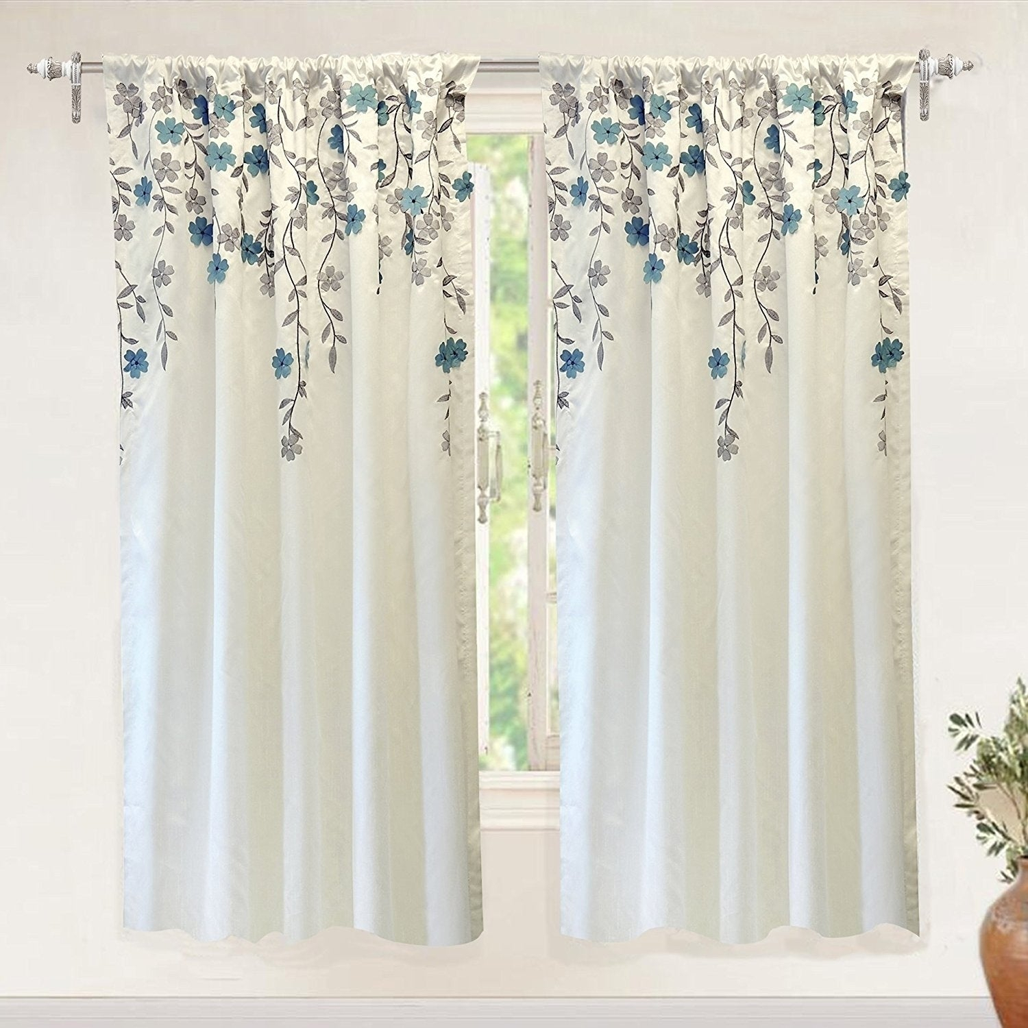 Driftaway Isabella Faux Silk Lined Thermal Embroidered Crafted Flower Window Curtain Panel For Floral Embroidered Faux Silk Kitchen Tiers (View 15 of 20)