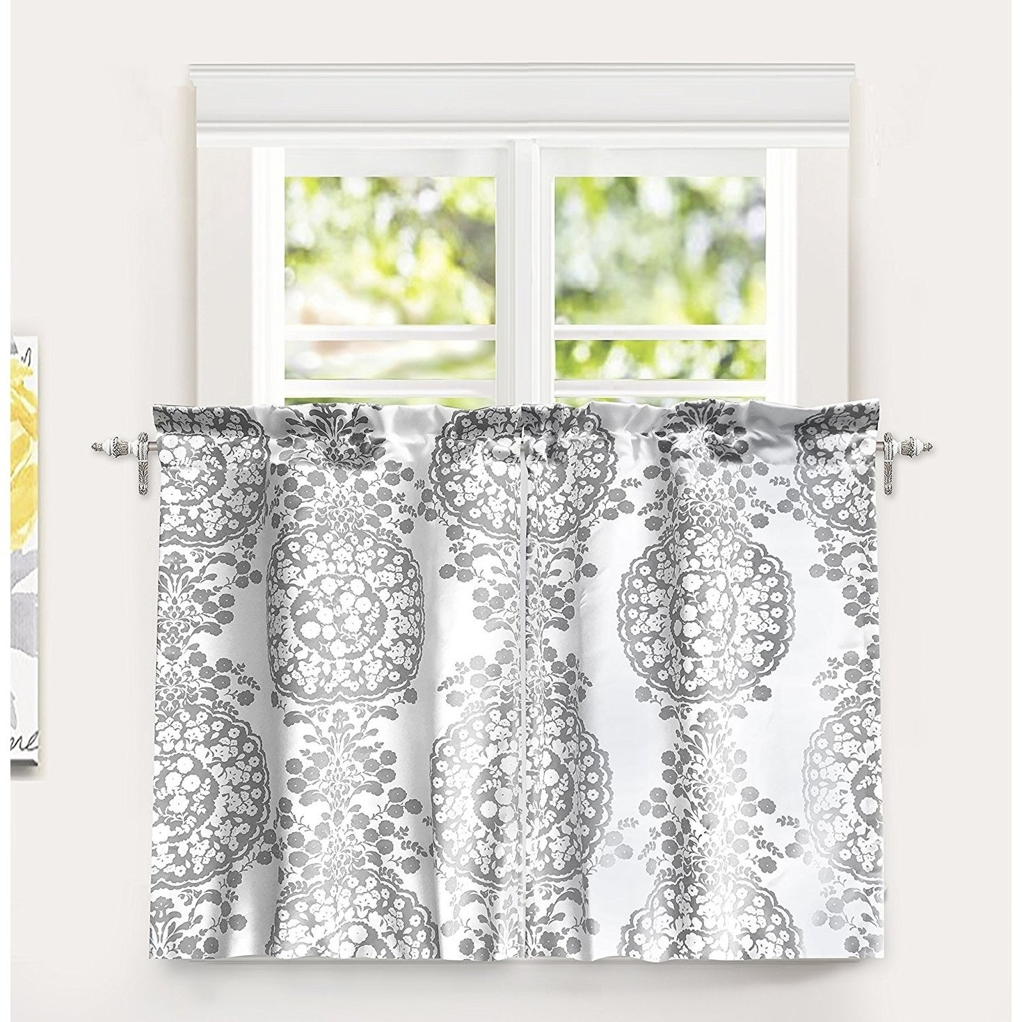 "Driftaway Samantha Pastel Damask Printed Room Darkening Kitchen Tier Pair – 30"" Width X 36 "" Length Intended For Floral Blossom Ink Painting Thermal Room Darkening Kitchen Tier Pairs (View 11 of 20)"