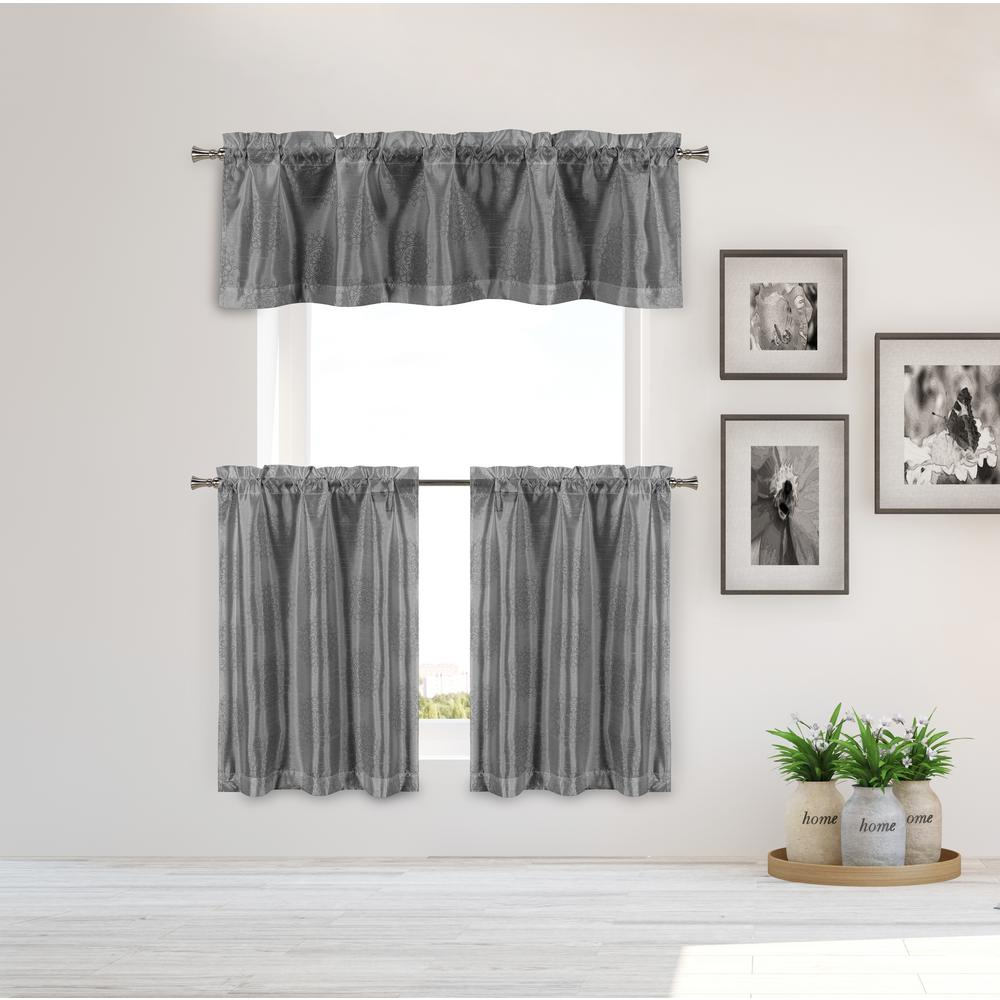 Duck River Ailin Kitchen Valance In Grey Silver – 15 In. W X 58 In (View 8 of 20)