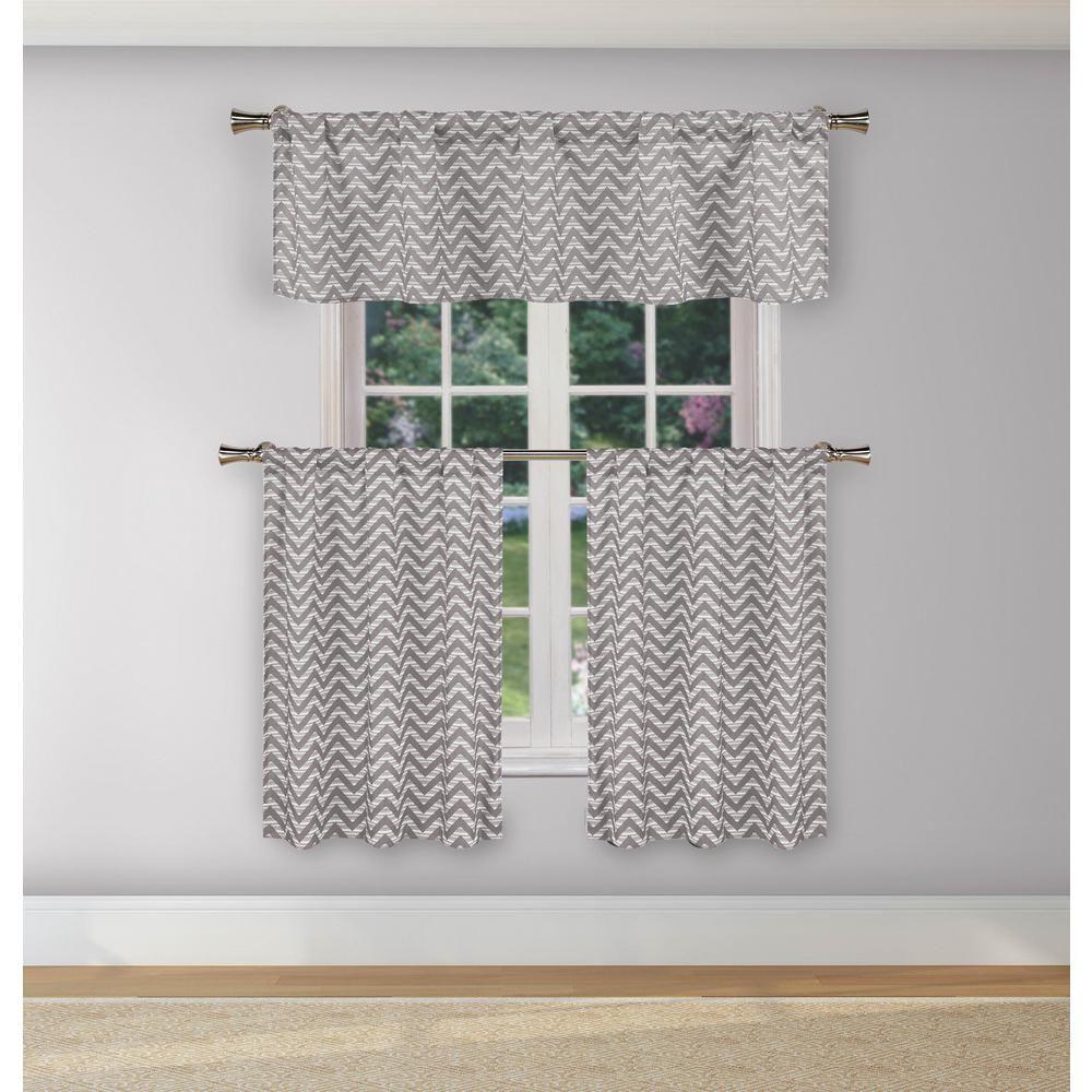 Duck River Ayeris Grey Room Darkening Kitchen Curtain Set Inside Geometric Print Microfiber 3 Piece Kitchen Curtain Valance And Tiers Sets (View 5 of 20)
