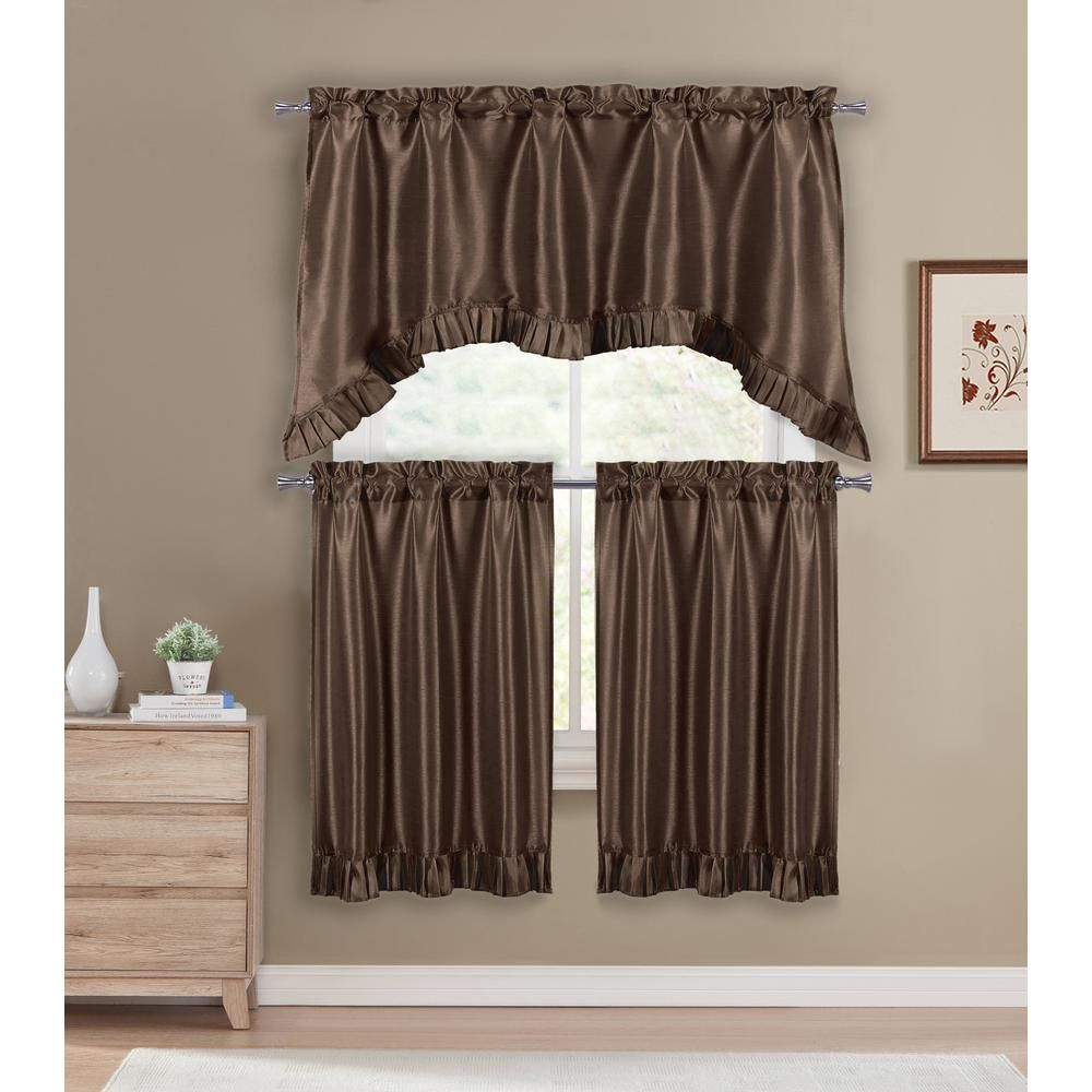 Duck River Bella Chocolate Room Darkening Kitchen Curtain Inside Bermuda Ruffle Kitchen Curtain Tier Sets (View 13 of 20)