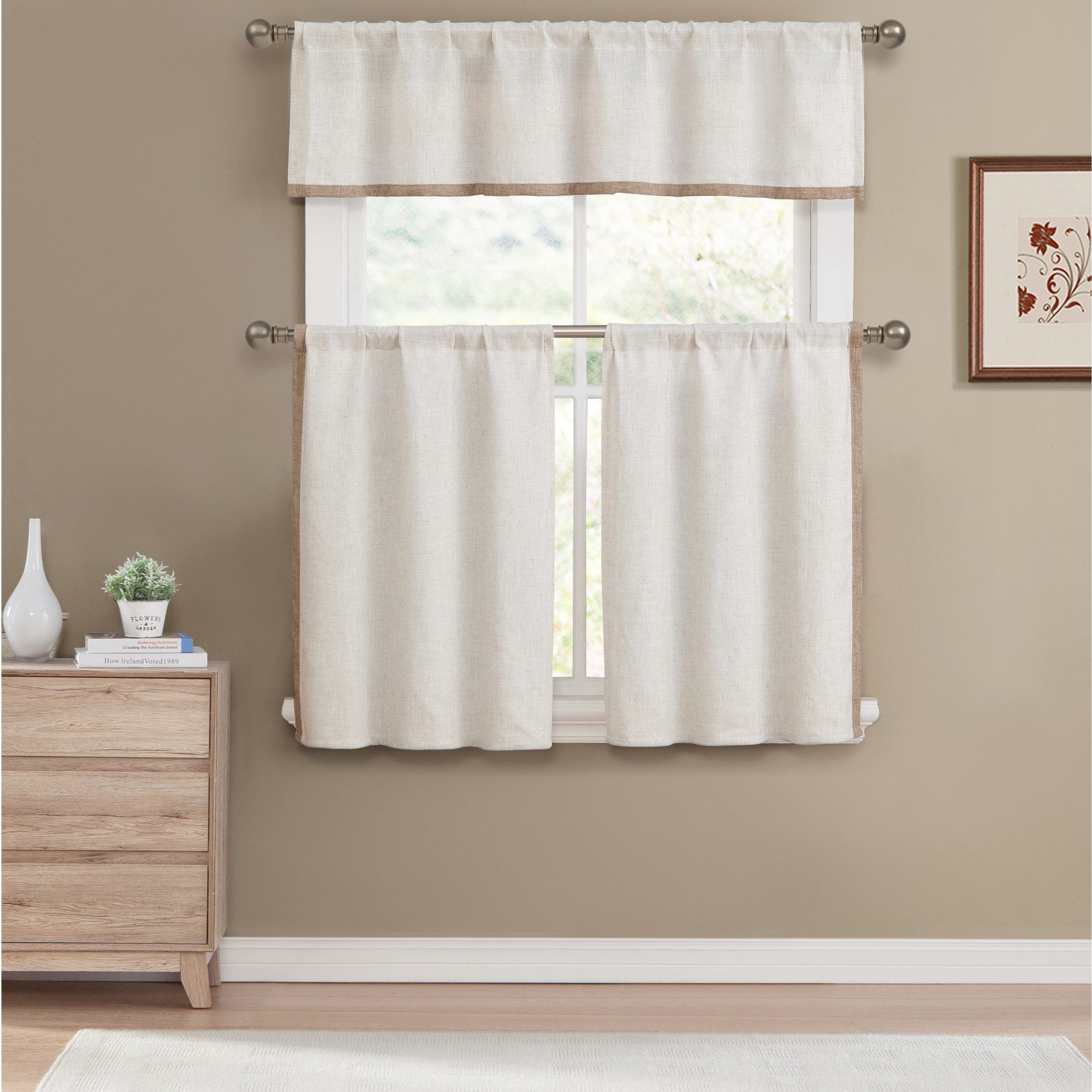 Duck River Koti Tan 3 Piece Tier Set For Scroll Leaf 3 Piece Curtain Tier And Valance Sets (View 8 of 20)