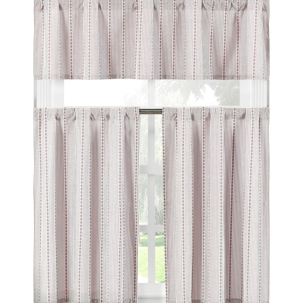 Duck River Kylie Burgundy White Kitchen Curtain Set – 58 In. W X 15 In (View 13 of 20)