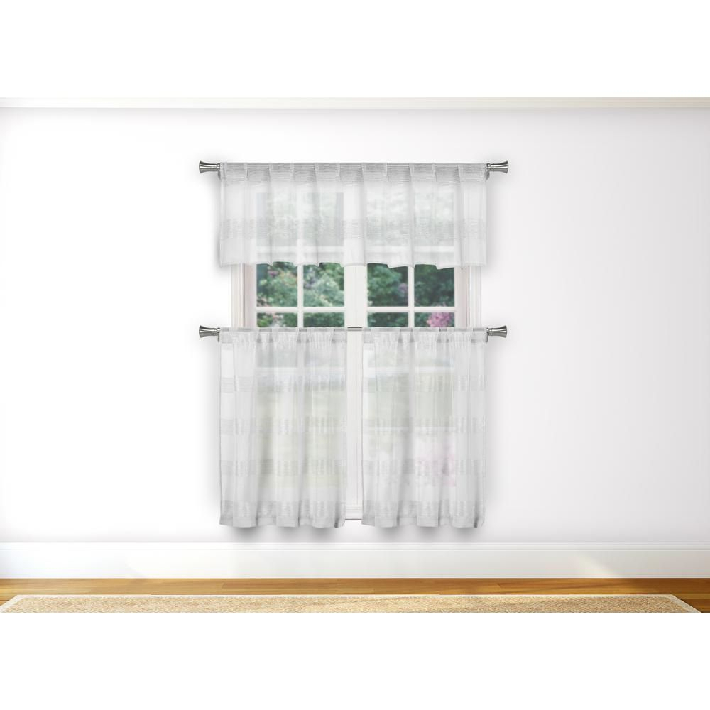 Duck River Loretta Kitchen Valance In Tiers/white – 15 In (View 5 of 20)