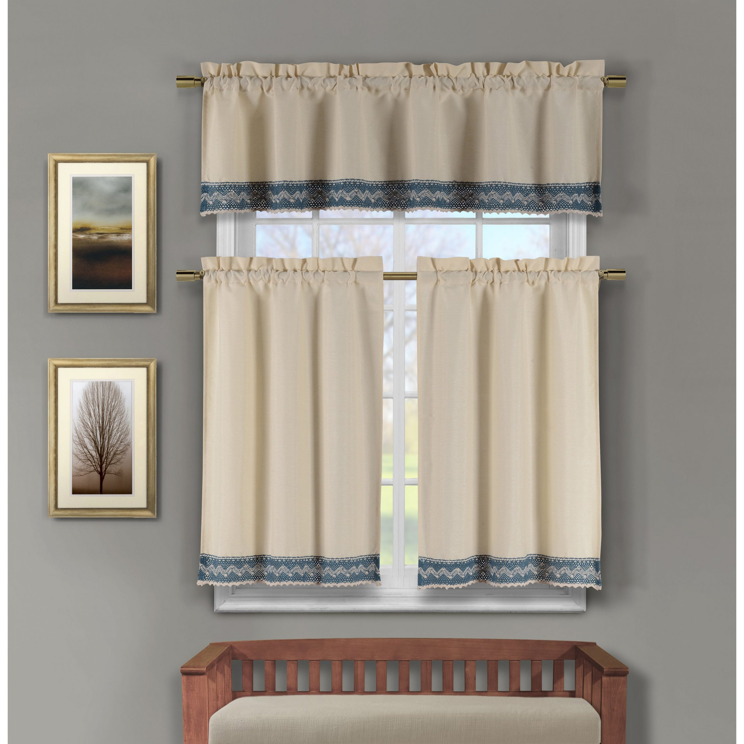 Duck River Zoey Cotton Crochet 3 Piece Kitchen Curtain Tier Pertaining To Cotton Classic Toast Window Pane Pattern And Crotchet Trim Tiers (View 9 of 20)