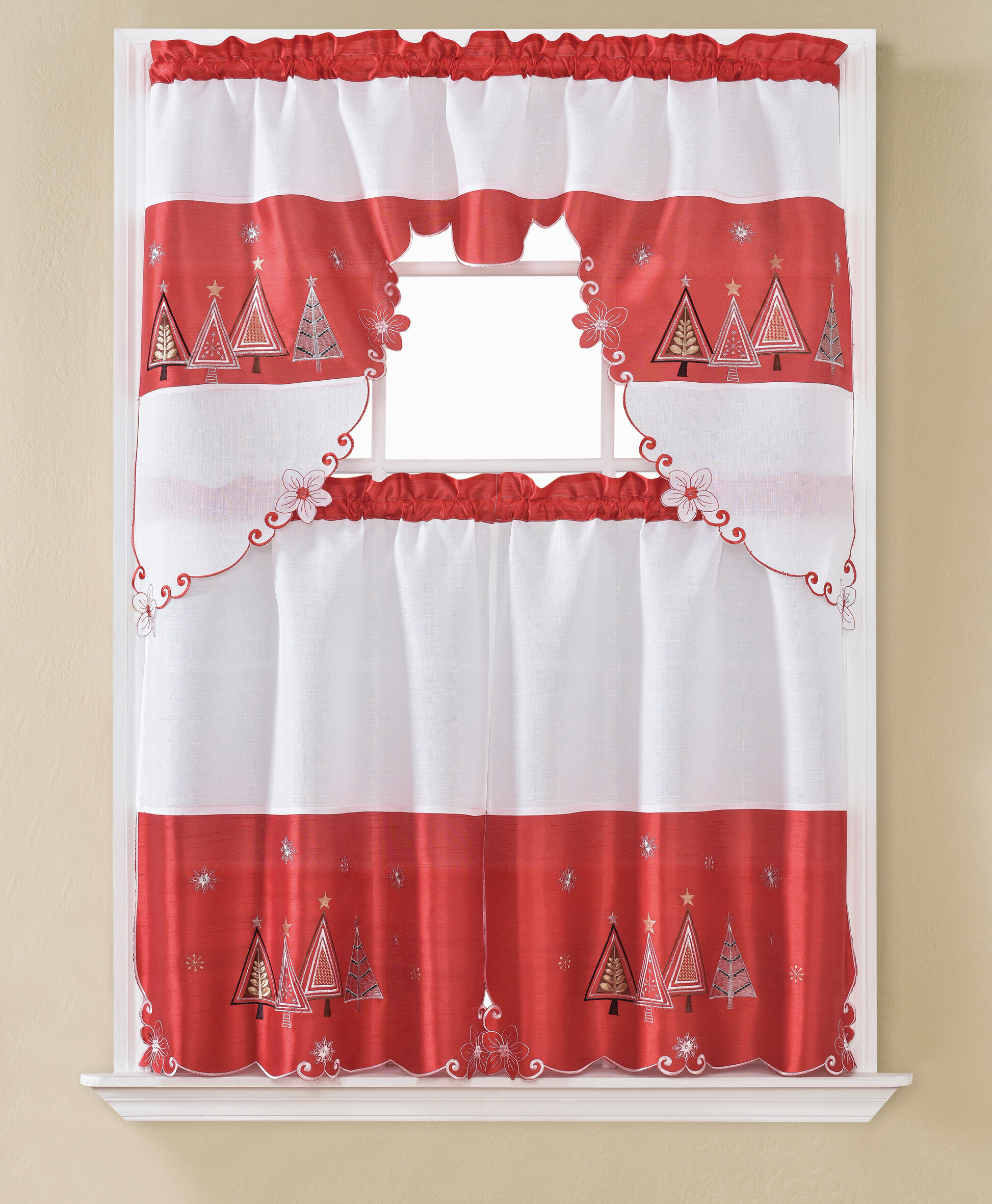 Dunkin Christmas Tree 3 Piece Kitchen Curtain Set Throughout Embroidered Floral 5 Piece Kitchen Curtain Sets (View 8 of 20)