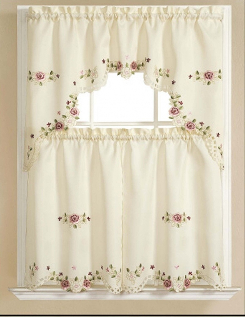 Easy Kitchen Tier Curtain Sets Within Solid Microfiber 3 Piece Kitchen Curtain Valance And Tiers Sets (View 13 of 20)