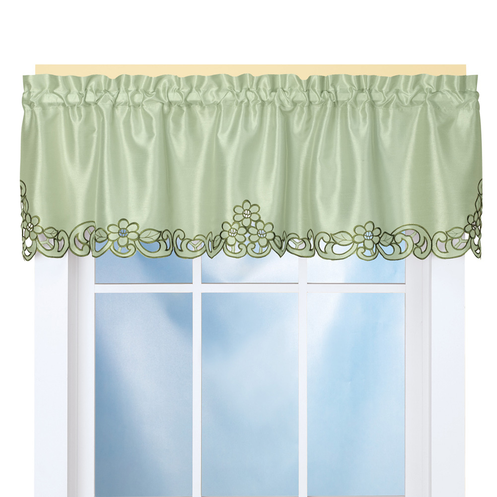 """Elegance Scroll Embroidered Cut Out Window Valance With Rod Pocket Top For Easy Hanging, 58"""" W X 13"""" L, Sage Throughout Embroidered Rod Pocket Kitchen Tiers (View 20 of 20)"""