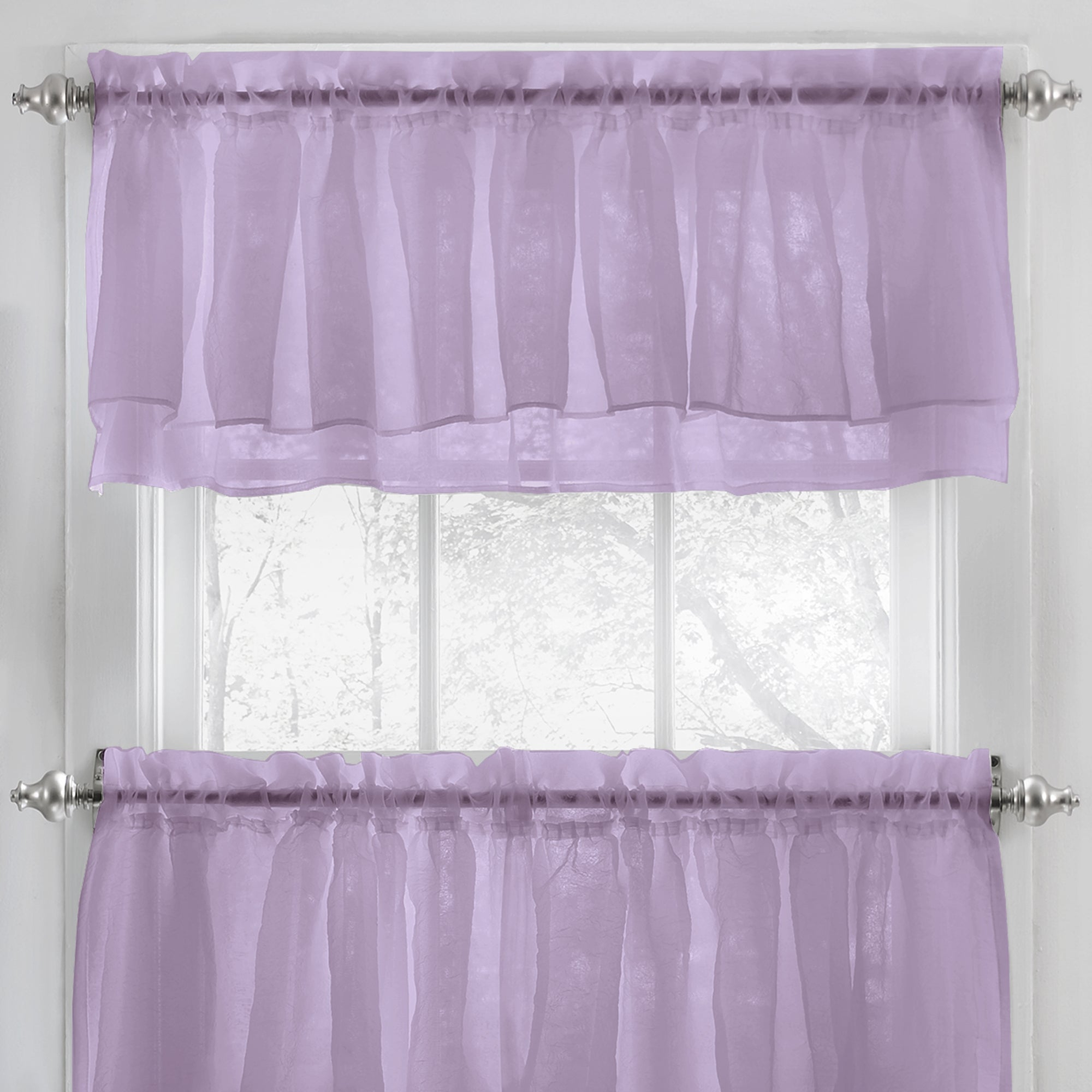 Elegant Crushed Voile Ruffle Blue/white/pink/purple/beige Window Curtain Pieces With Optional Valance And Tiers In Elegant Crushed Voile Ruffle Window Curtain Pieces (View 6 of 20)