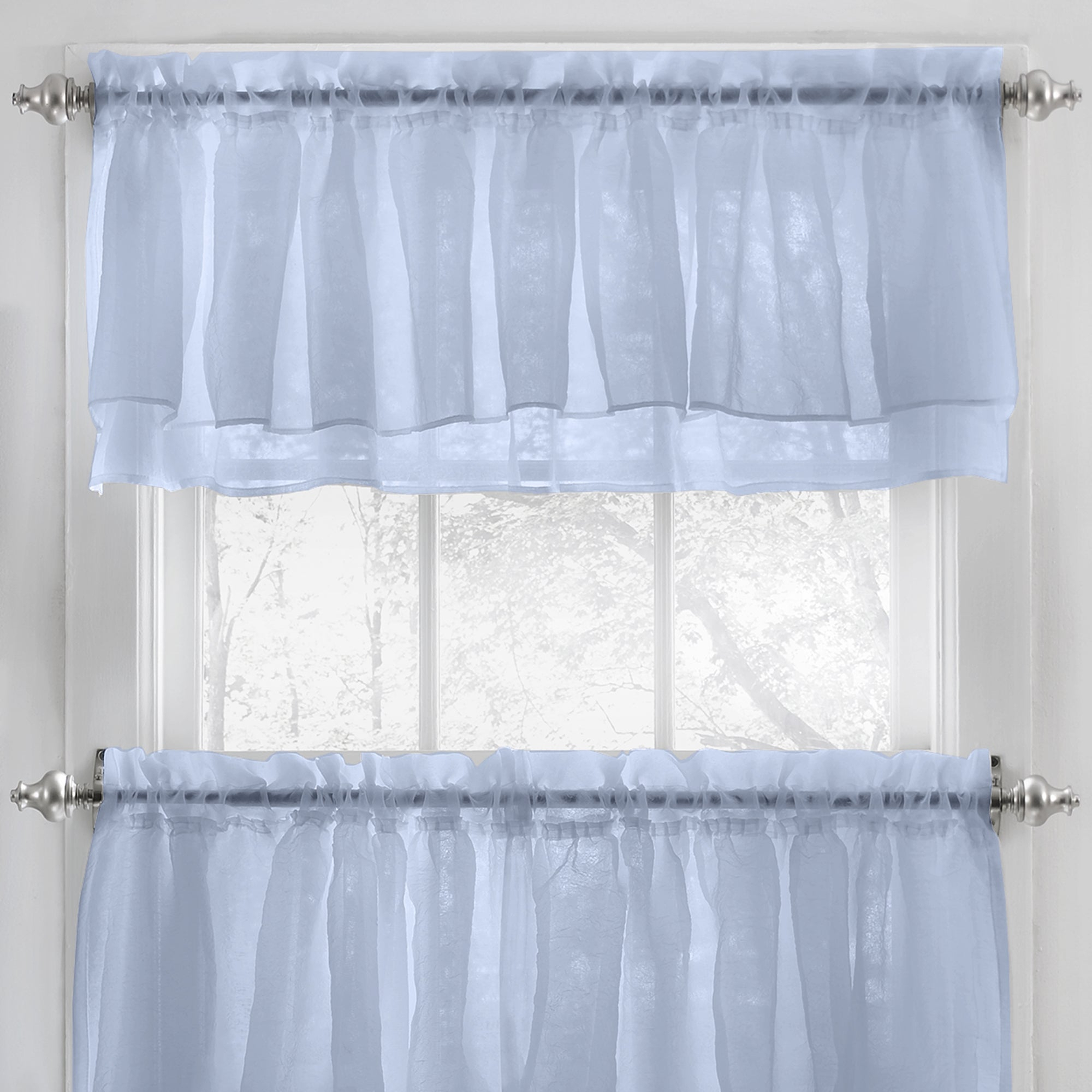 Elegant Crushed Voile Ruffle Blue/white/pink/purple/beige Window Curtain Pieces With Optional Valance And Tiers Intended For Elegant Crushed Voile Ruffle Window Curtain Pieces (View 3 of 20)