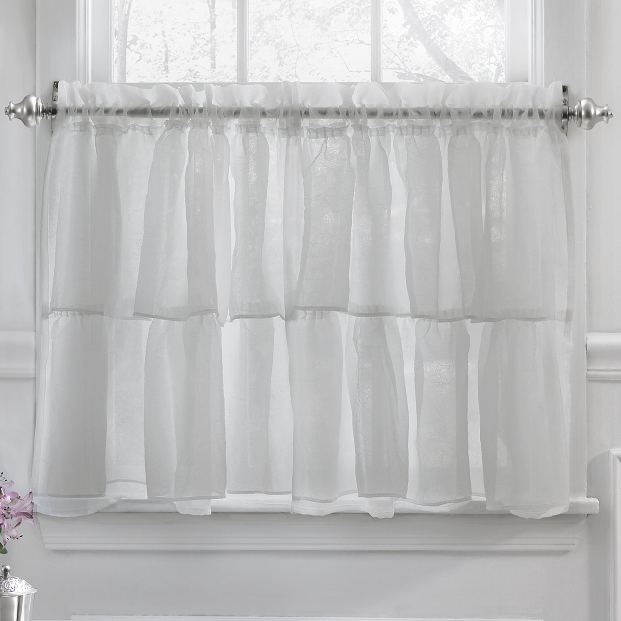 Elegant Crushed Voile Ruffle Kitchen Window Tier Cafe Curtain Pertaining To Classic Black And White Curtain Tiers (View 13 of 20)