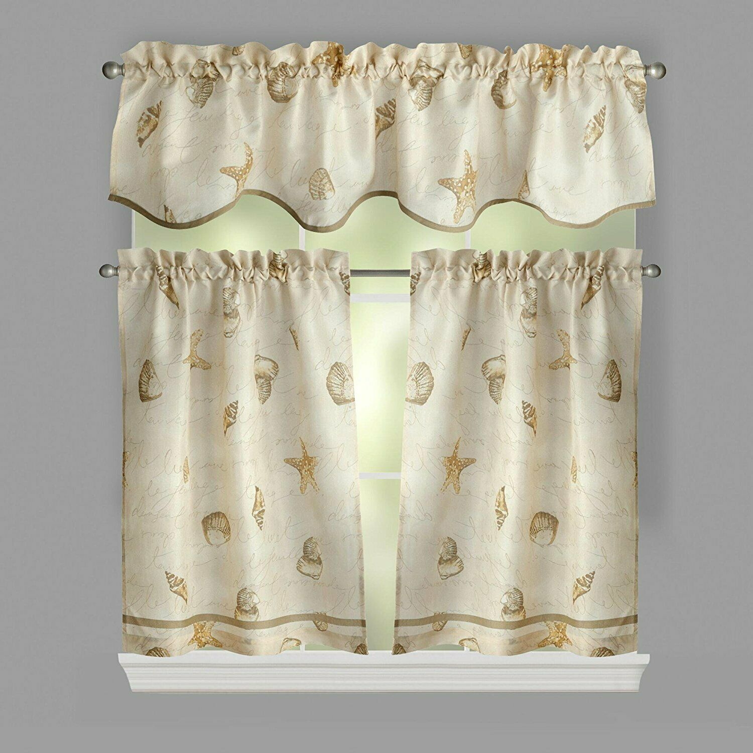 Ellery Homestyles 36 Inch Tiers And Valance Curtain Set Shells Seashells Within Coastal Tier And Valance Window Curtain Sets (View 14 of 20)
