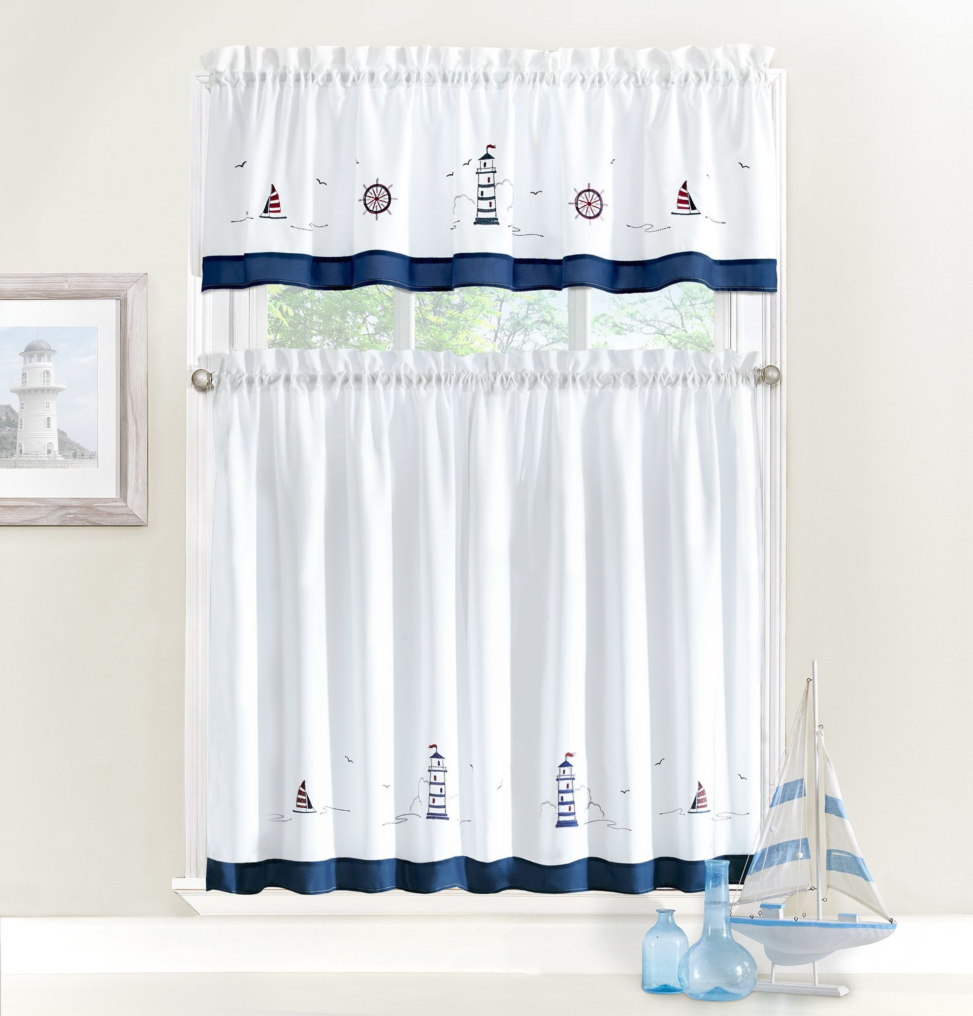 Ellery Homestyles Studio Nautical Embroidery Valance And In Dakota Window Curtain Tier Pair And Valance Sets (View 17 of 20)
