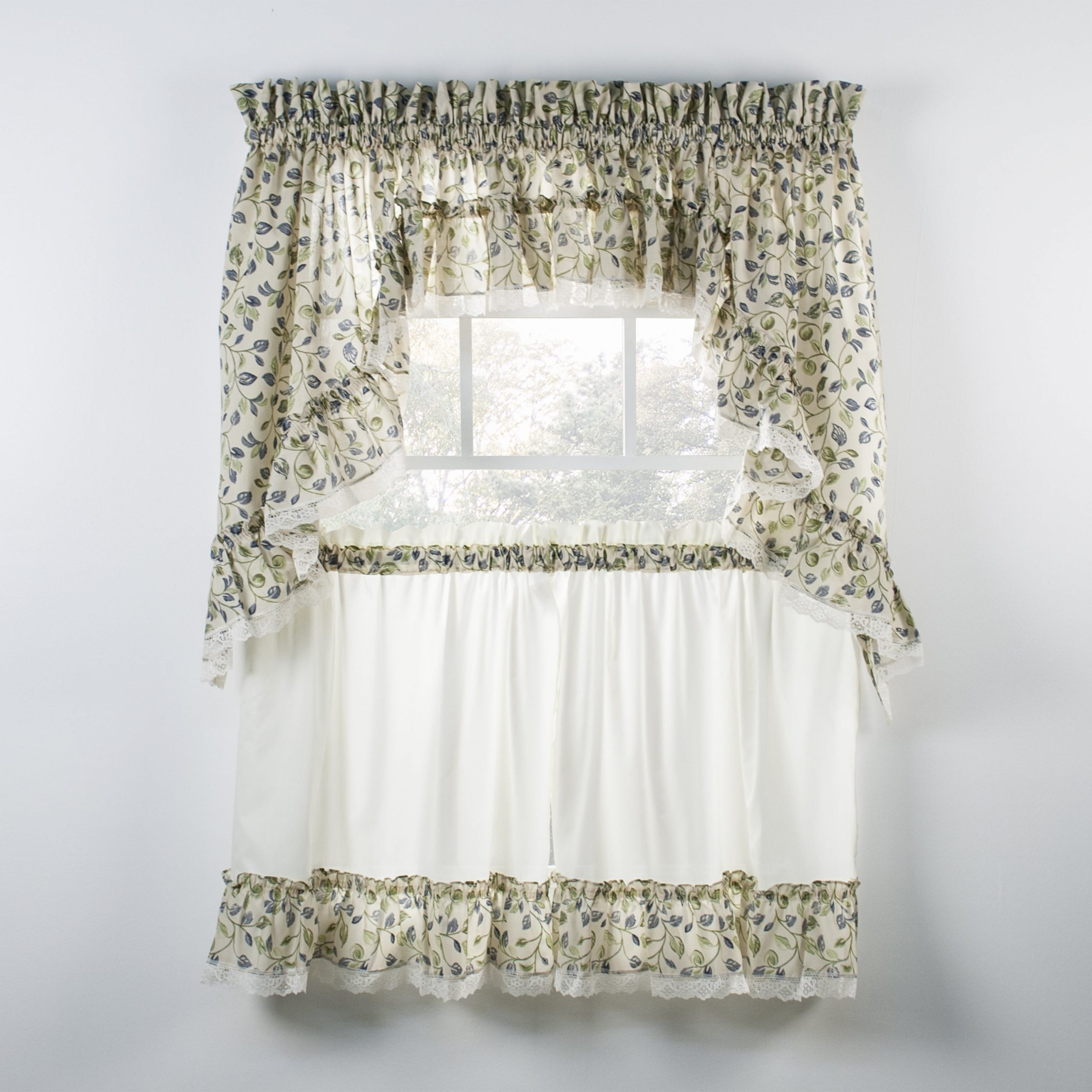 Ellis Curtain Clarice Blue Ruffled Swag And Tiers Sold Seperately With Grace Cinnabar 5 Piece Curtain Tier And Swag Sets (View 20 of 20)