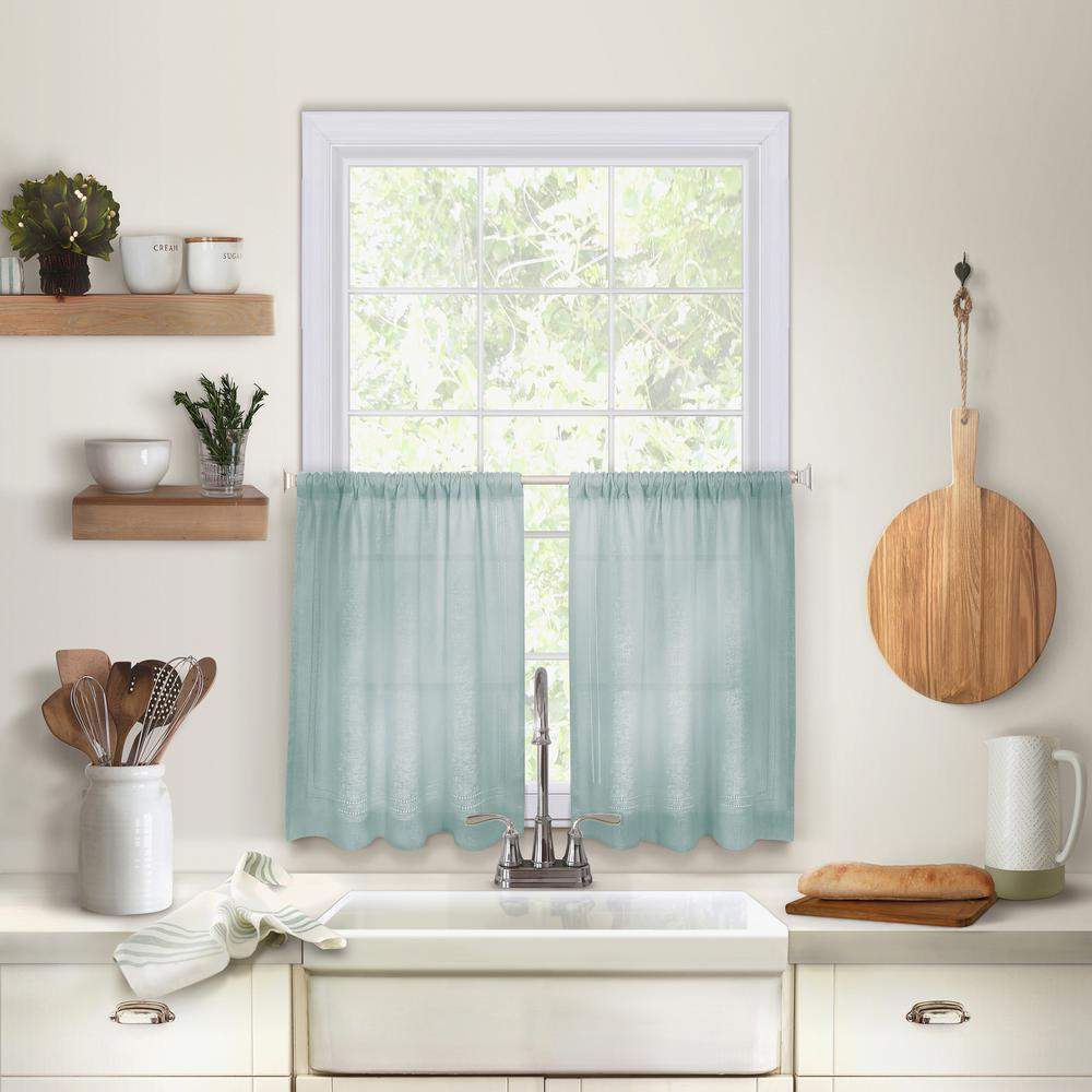 Elrene Cameron Kitchen Tier Set Of 2 Pertaining To Linen Stripe Rod Pocket Sheer Kitchen Tier Sets (View 6 of 20)