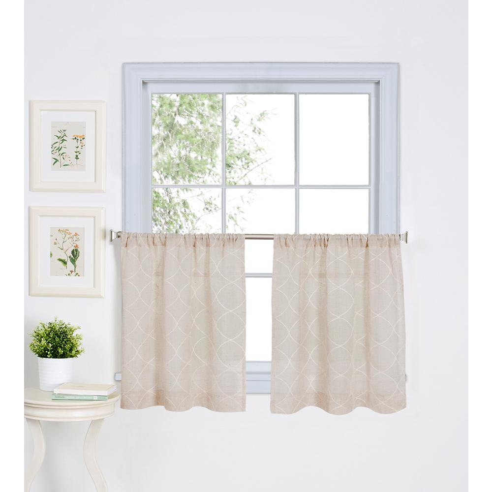Elrene Taylor Kitchen Tier Set Of 2 Within Coffee Embroidered Kitchen Curtain Tier Sets (View 8 of 20)
