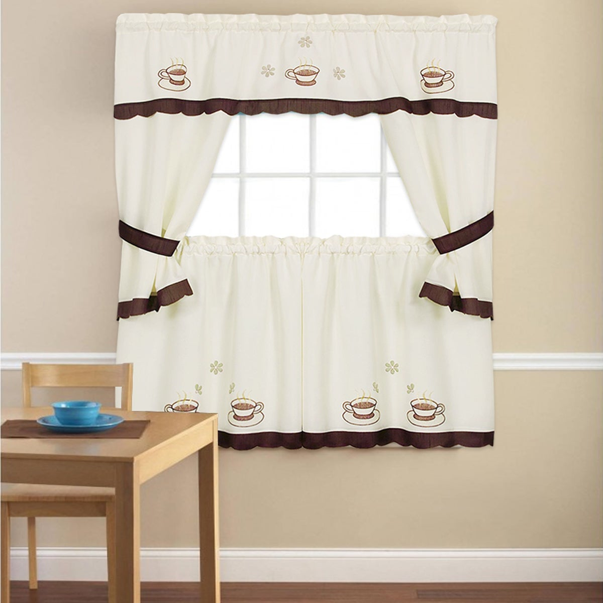 Embroidered 'coffee Cup' 5 Piece Kitchen Curtain Set Regarding Coffee Drinks Embroidered Window Valances And Tiers (View 7 of 20)