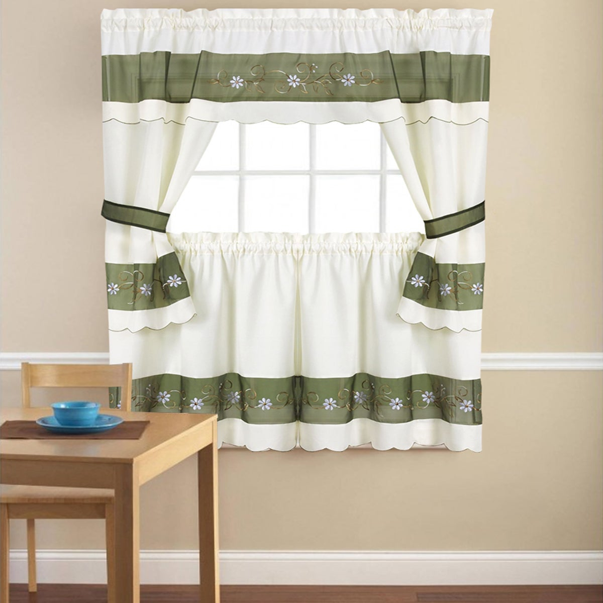 Embroidered Floral 5 Piece Kitchen Curtain Set Pertaining To Cotton Lace 5 Piece Window Tier And Swag Sets (View 3 of 20)