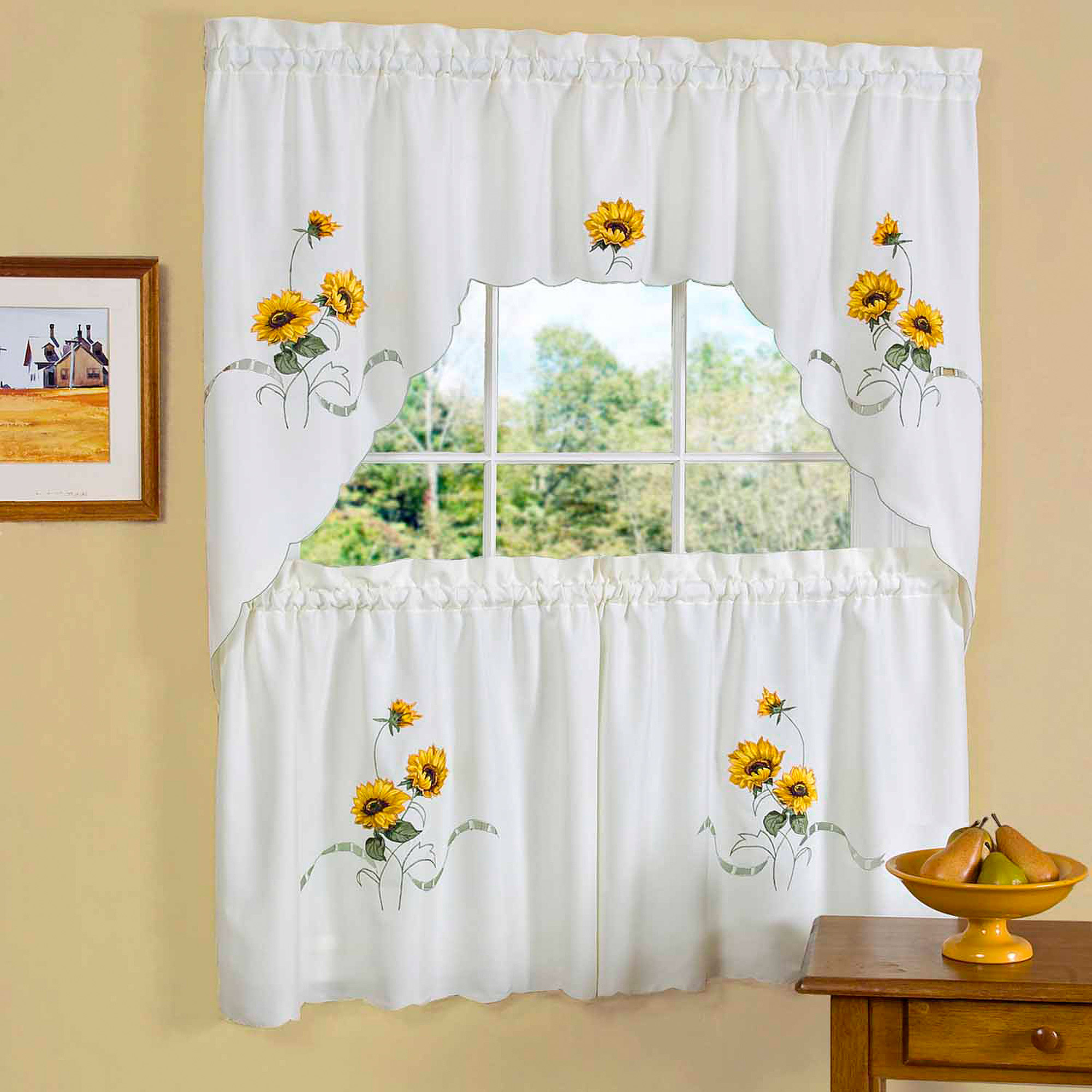 """Embroidered Ladybug Meadow Kitchen Curtains 24"""", 36"""" Tier Pair, 36"""" Swag Pair Or 12"""" Valance Within Embroidered Ladybugs Window Curtain Pieces (View 15 of 20)"""