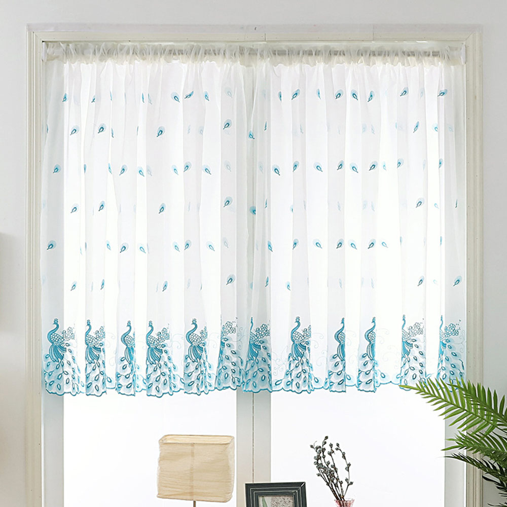 Embroidered Pink Peacock Sheer Curtains 120cm Long For Kitchen Windows Blue White Rod Pocket Short Sheer Voile Door Panel Tm0283 In Embroidered Rod Pocket Kitchen Tiers (View 10 of 20)