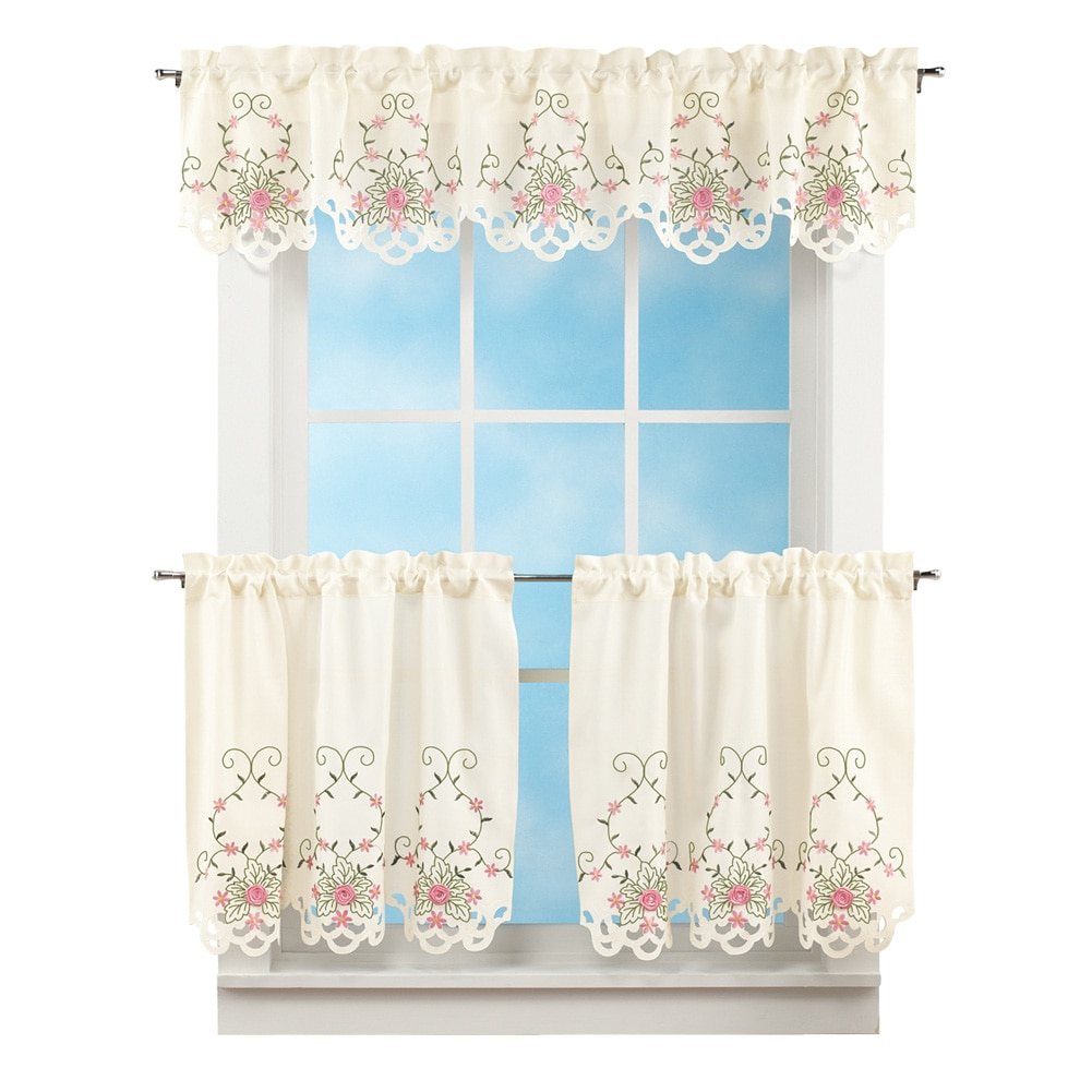 """Embroidered Roses And Leaves Rod Pocket 3 Piece Valance And Tier Set, 36""""l Tiers, Pink Inside Scroll Leaf 3 Piece Curtain Tier And Valance Sets (View 9 of 20)"""