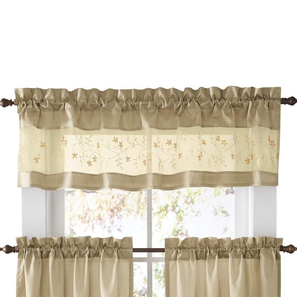 Embroidered Vines Fairfield Rod Pocket Kitchen Cafe Curtain, Valance, Taupe Intended For Embroidered Rod Pocket Kitchen Tiers (View 14 of 20)