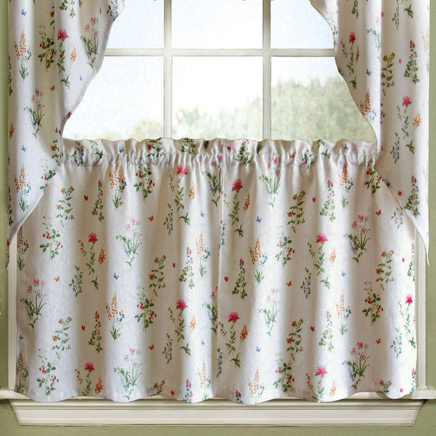 English Garden Floral White Jacquard Kitchen Curtains Tier, Valance Or Swag Within Chardonnay Tier And Swag Kitchen Curtain Sets (View 16 of 20)