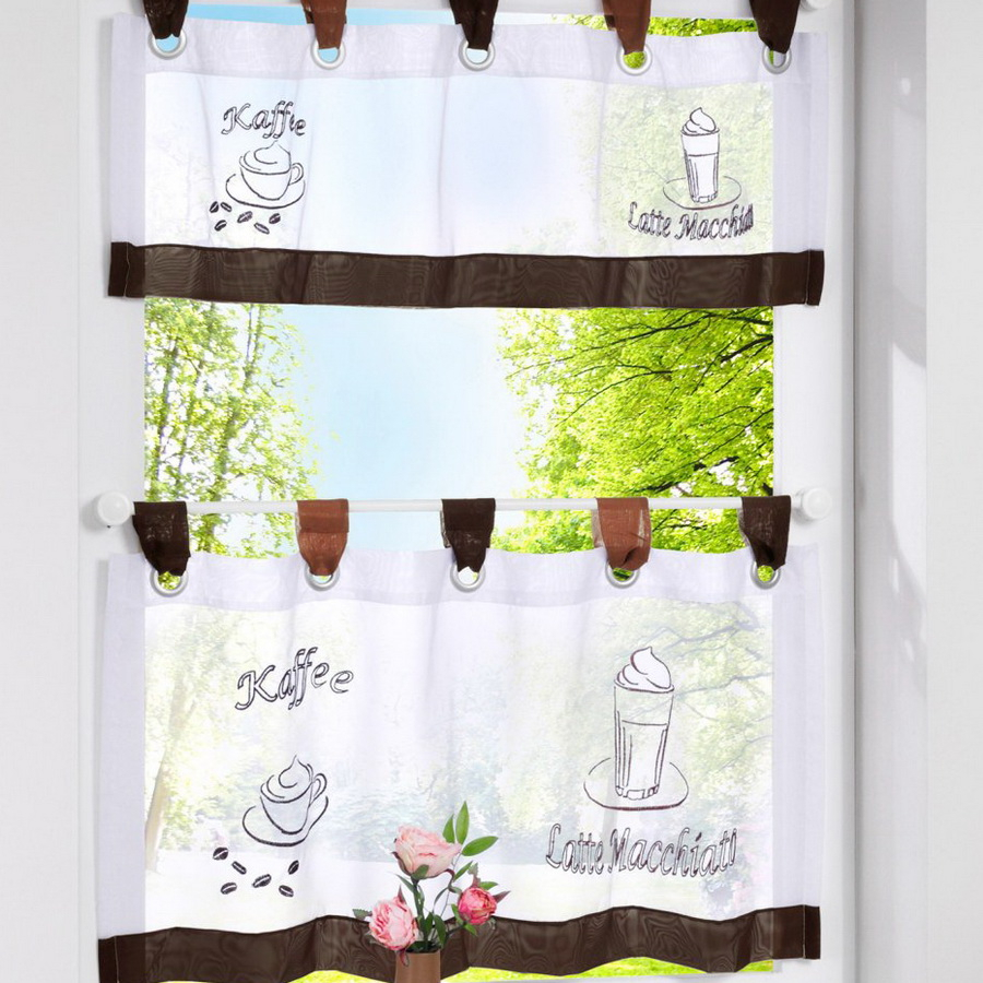 European Style Bistro Window Curtain Fancy Tap Top Kitchen Inside Coffee Drinks Embroidered Window Valances And Tiers (View 9 of 20)