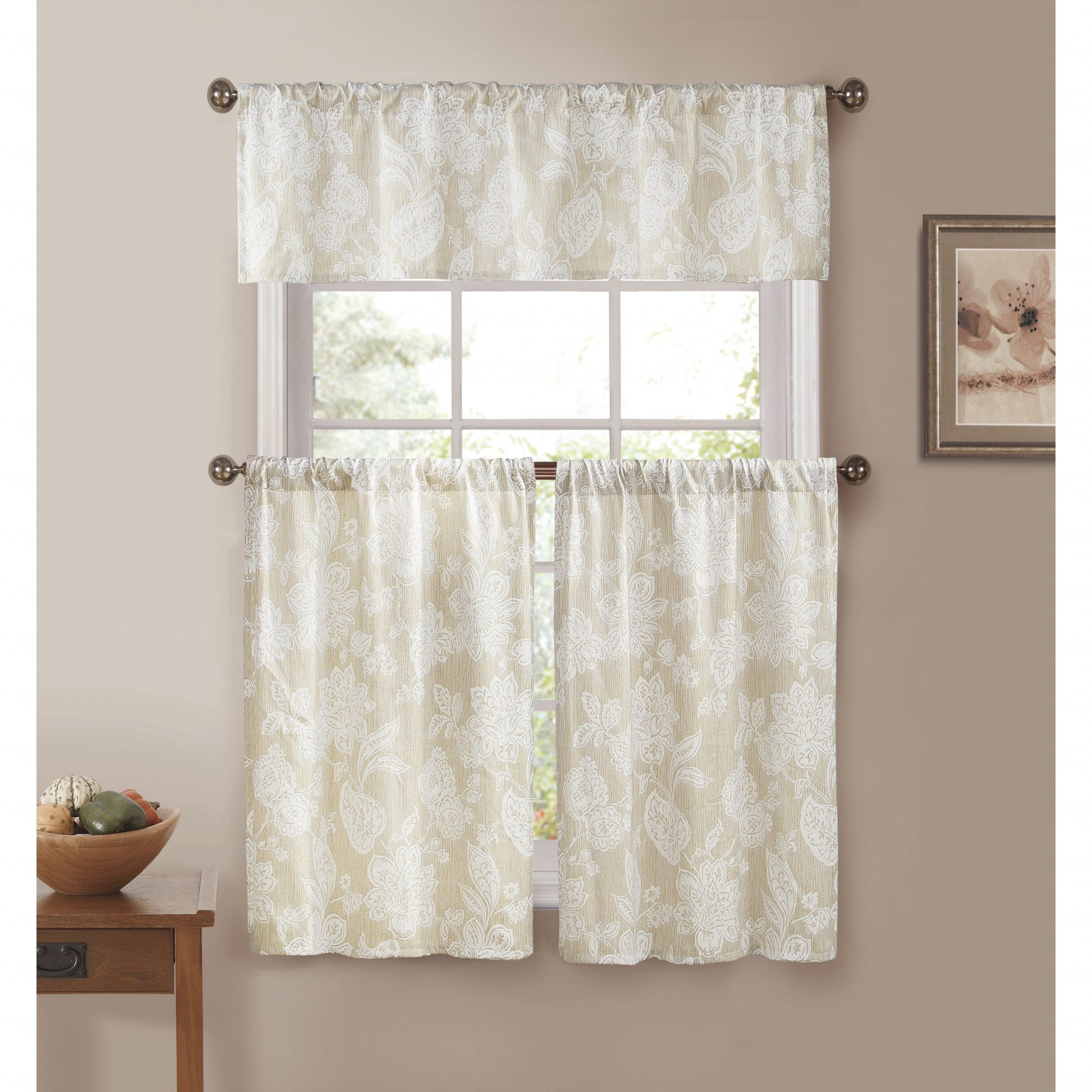 Ewva Linen Look 3 Piece Jacquard Pole Top Kitchen Curtain Set Regarding Scroll Leaf 3 Piece Curtain Tier And Valance Sets (View 10 of 20)