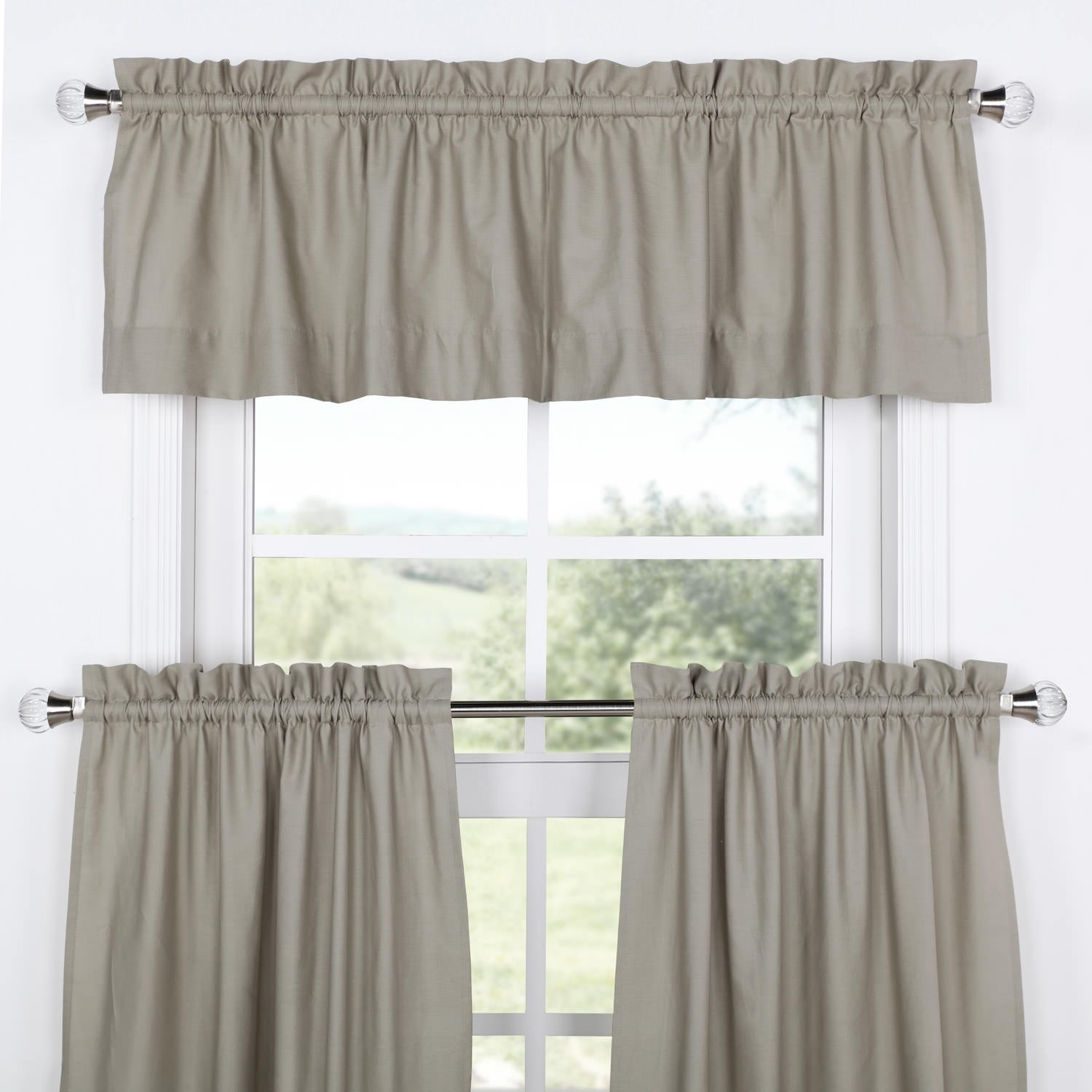 Exclusive Fabrics Solid Cotton Kitchen Tier Curtain & Valance Set (3pc) Inside Bermuda Ruffle Kitchen Curtain Tier Sets (View 19 of 20)