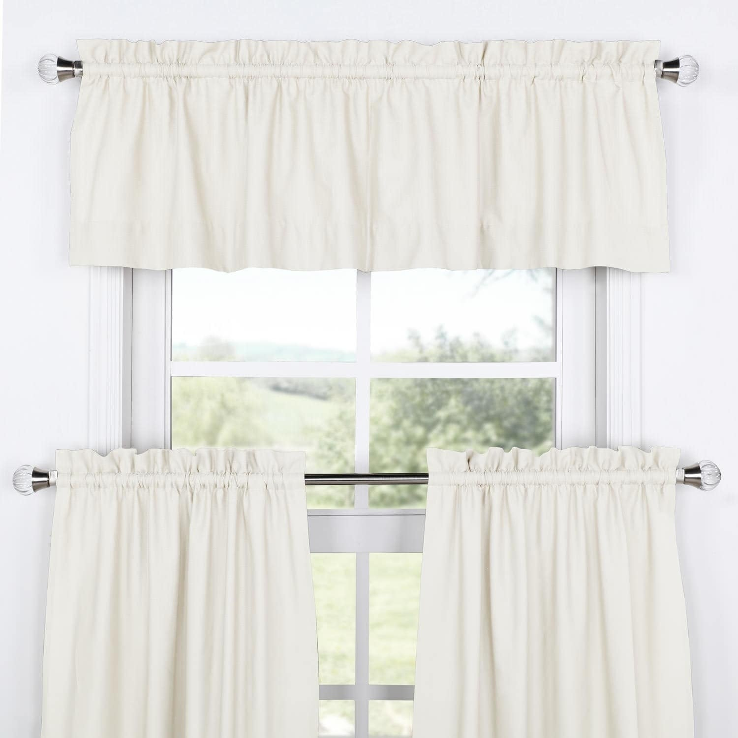 Exclusive Fabrics Solid Cotton Kitchen Tier Curtain & Valance Set (3pc) Inside Bermuda Ruffle Kitchen Curtain Tier Sets (View 16 of 20)
