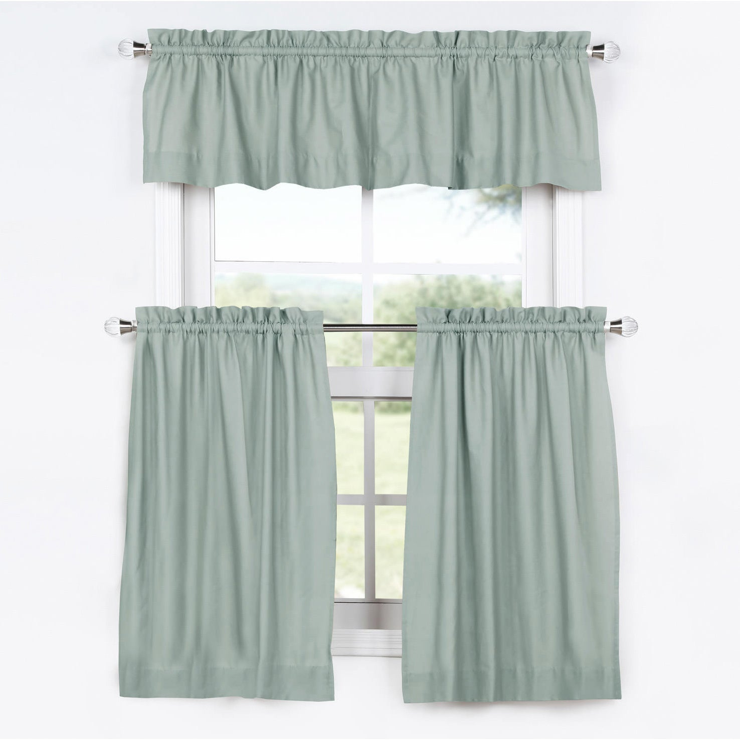 Exclusive Fabrics Solid Cotton Kitchen Tier Curtain & Valance Set (3pc) With Regard To Bermuda Ruffle Kitchen Curtain Tier Sets (View 6 of 20)