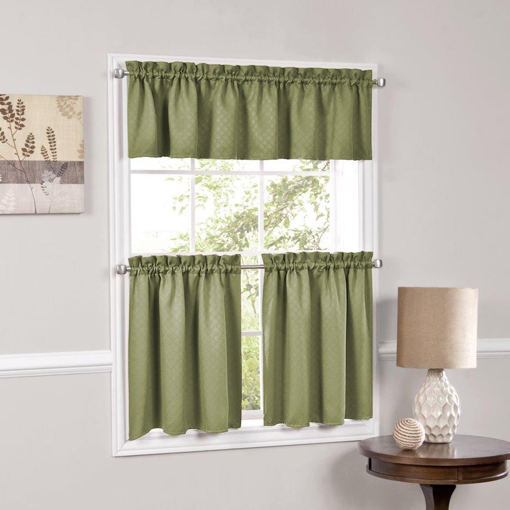 Facets Blackout Insulated Kitchen Curtain Parts Tiers And Valances (assorted Colors) For Solid Microfiber 3 Piece Kitchen Curtain Valance And Tiers Sets (View 20 of 20)