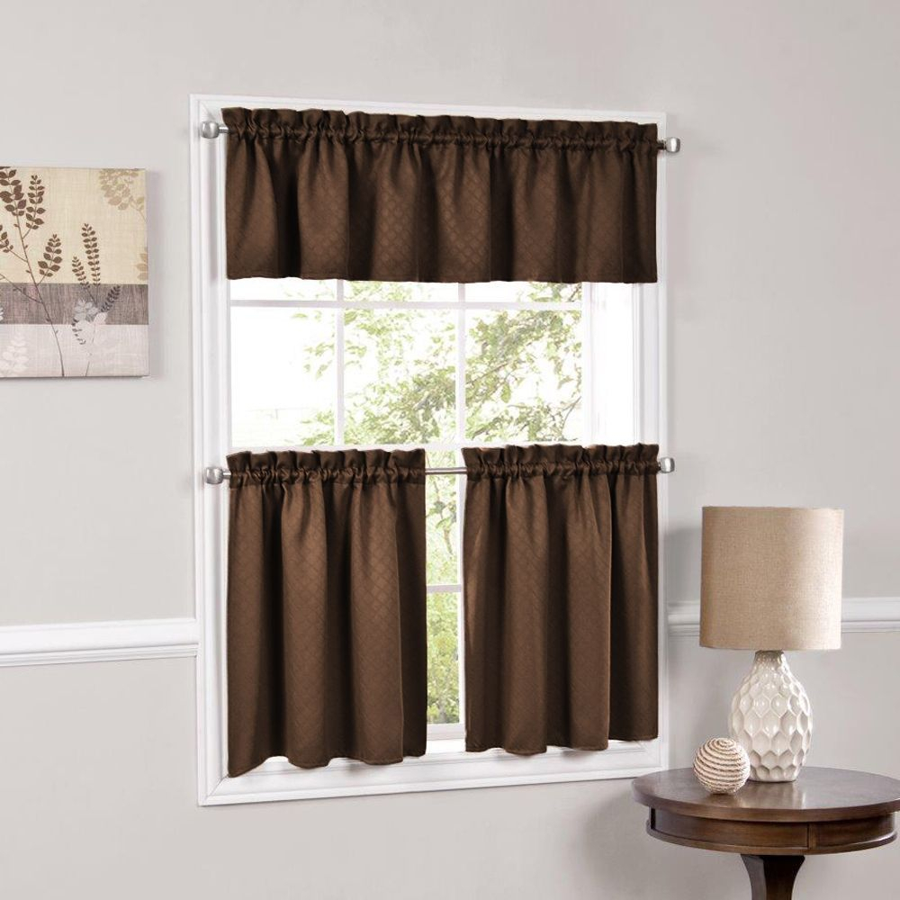 Facets Blackout Insulated Kitchen Curtain Teir (55 X 36 Inside Chocolate 5 Piece Curtain Tier And Swag Sets (View 13 of 20)