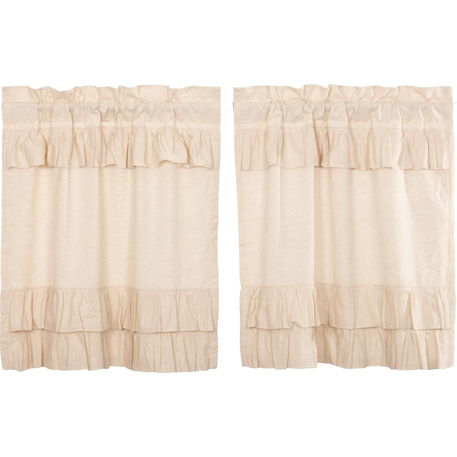 Farmhouse Kitchen Curtains Vhc Simple Life Flax Tier Pair Rod Pocket Cotton Linen Blend Solid Color Flax Intended For Simple Life Flax Tier Pairs (View 9 of 20)