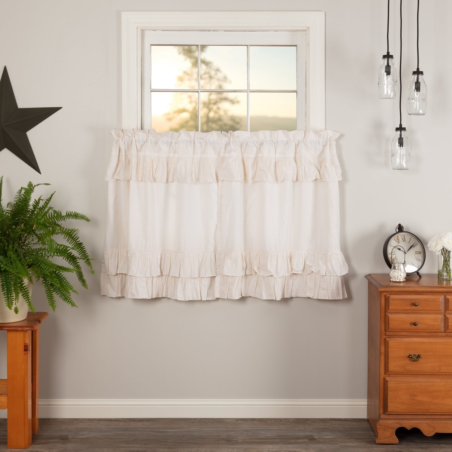 Farmhouse Kitchen Curtains Vhc Simple Life Flax Tier Pair Rod Pocket Cotton Linen Blend Solid Color Flax With Regard To Simple Life Flax Tier Pairs (View 11 of 20)