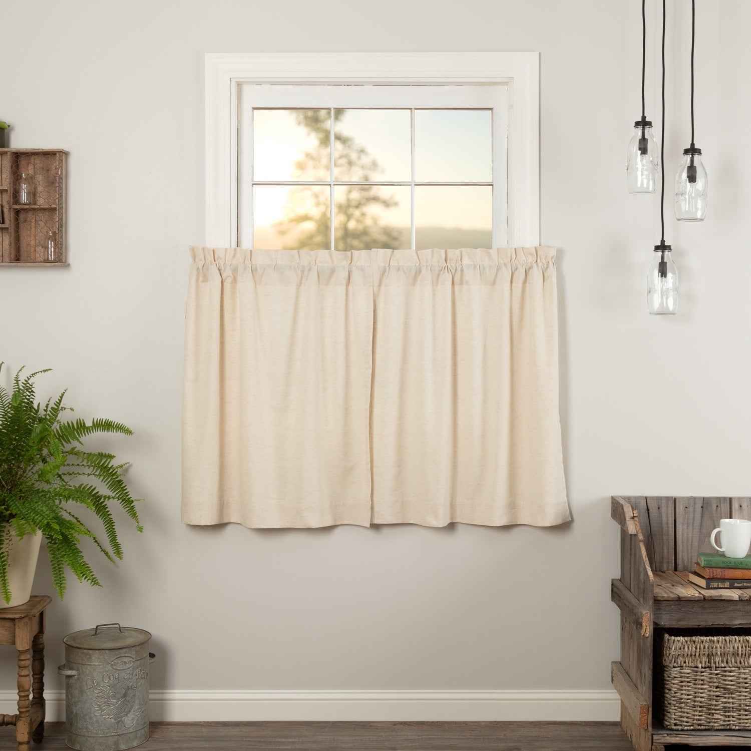 Farmhouse Kitchen Curtains Vhc Simple Life Flax Tier Pair Rod Pocket Cotton Linen Blend Solid Color Flax Within Linen Stripe Rod Pocket Sheer Kitchen Tier Sets (View 17 of 20)