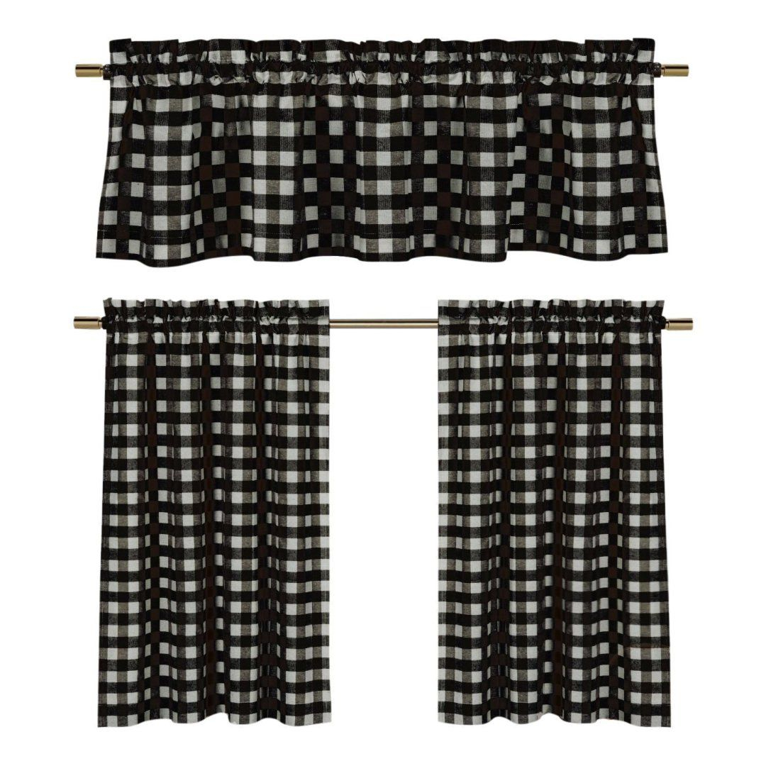 Farmhouse Style Kitchen Decor From Amazon, Hobby Lobby And Throughout Classic Black And White Curtain Tiers (View 14 of 20)