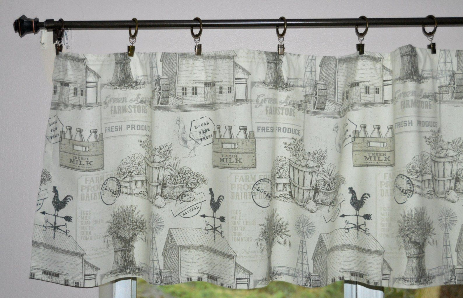 Farmhouse Valance . Farm Toile Rooster Valance (View 11 of 20)