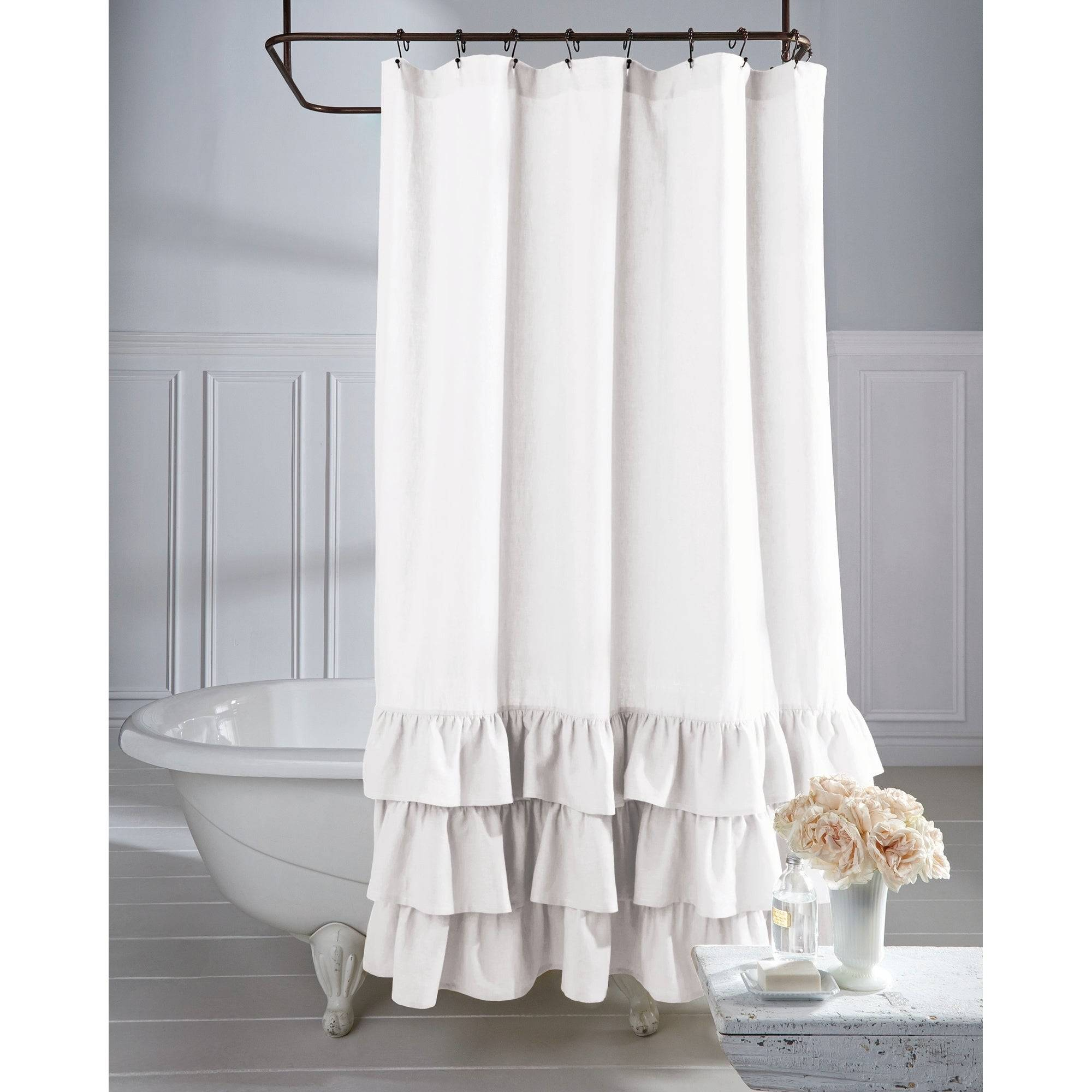 Fascinating Grey Ruffle Shower Curtain Farmhouse Linen Inside Silver Vertical Ruffled Waterfall Valance And Curtain Tiers (View 7 of 20)
