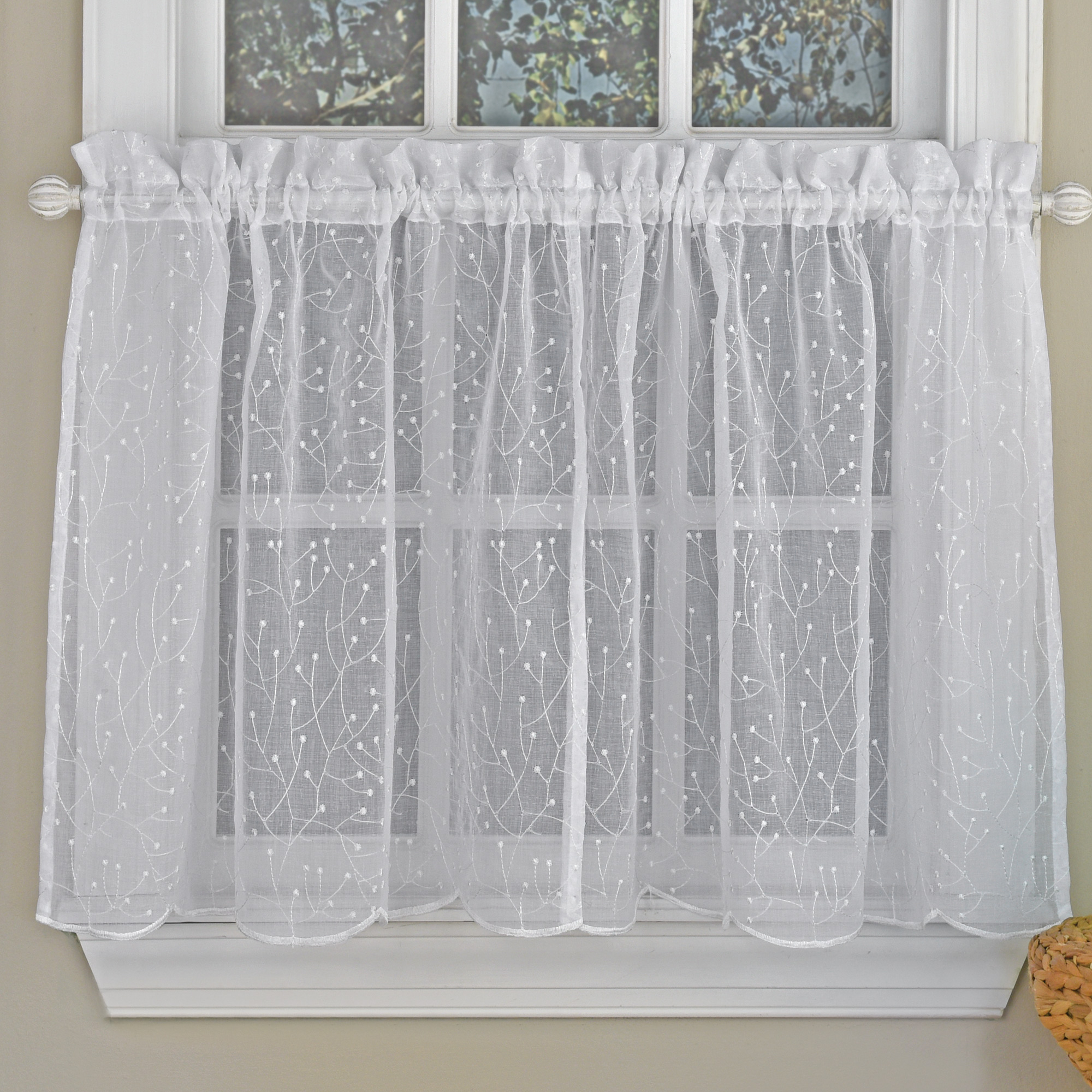 Floral Spray Semi Sheer Kitchen Window Curtain Tier Pair Or Valance White For Semi Sheer Rod Pocket Kitchen Curtain Valance And Tiers Sets (View 8 of 20)