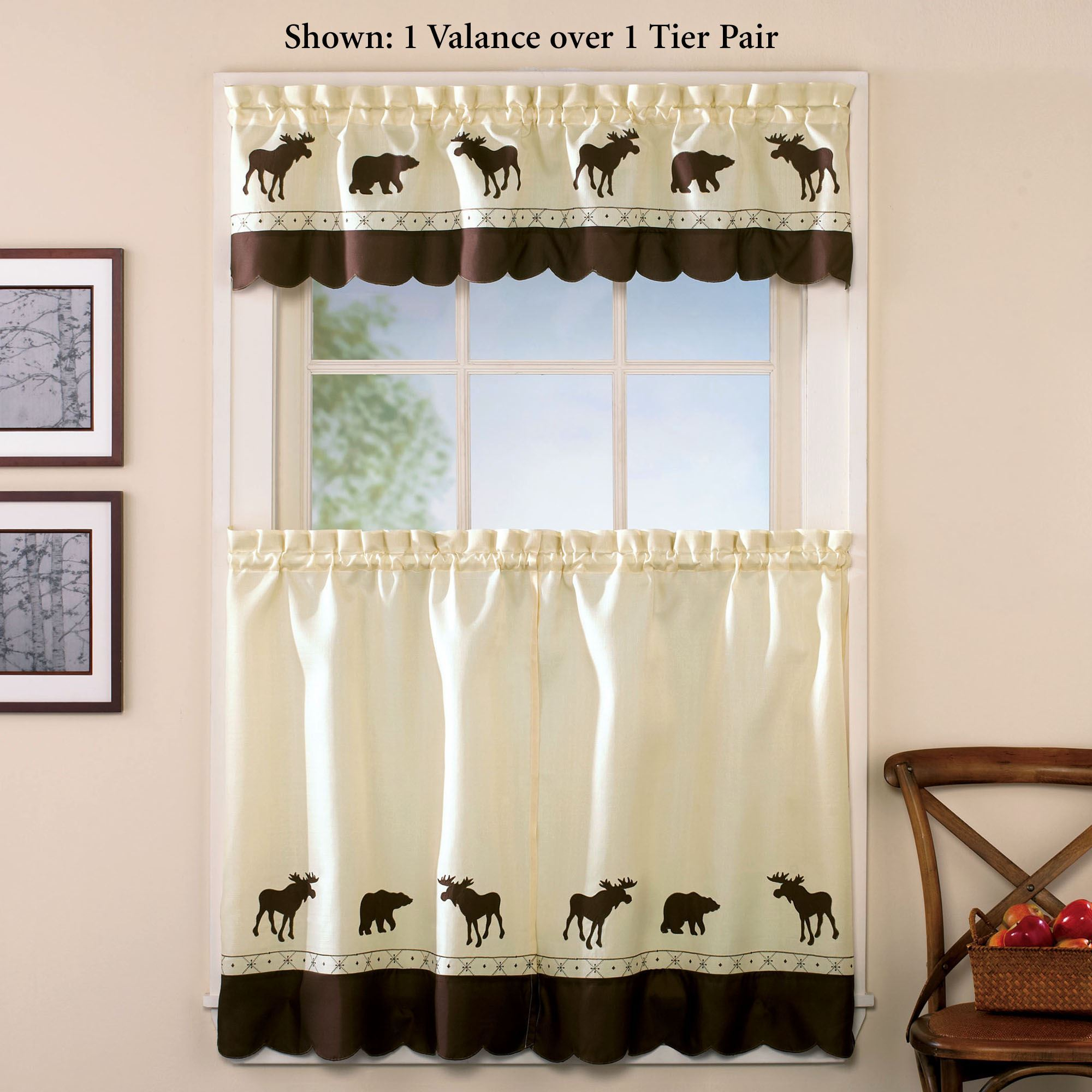 Forest Bear Moose Rustic Tier Window Treatment Pertaining To Forest Valance And Tier Pair Curtains (View 4 of 20)